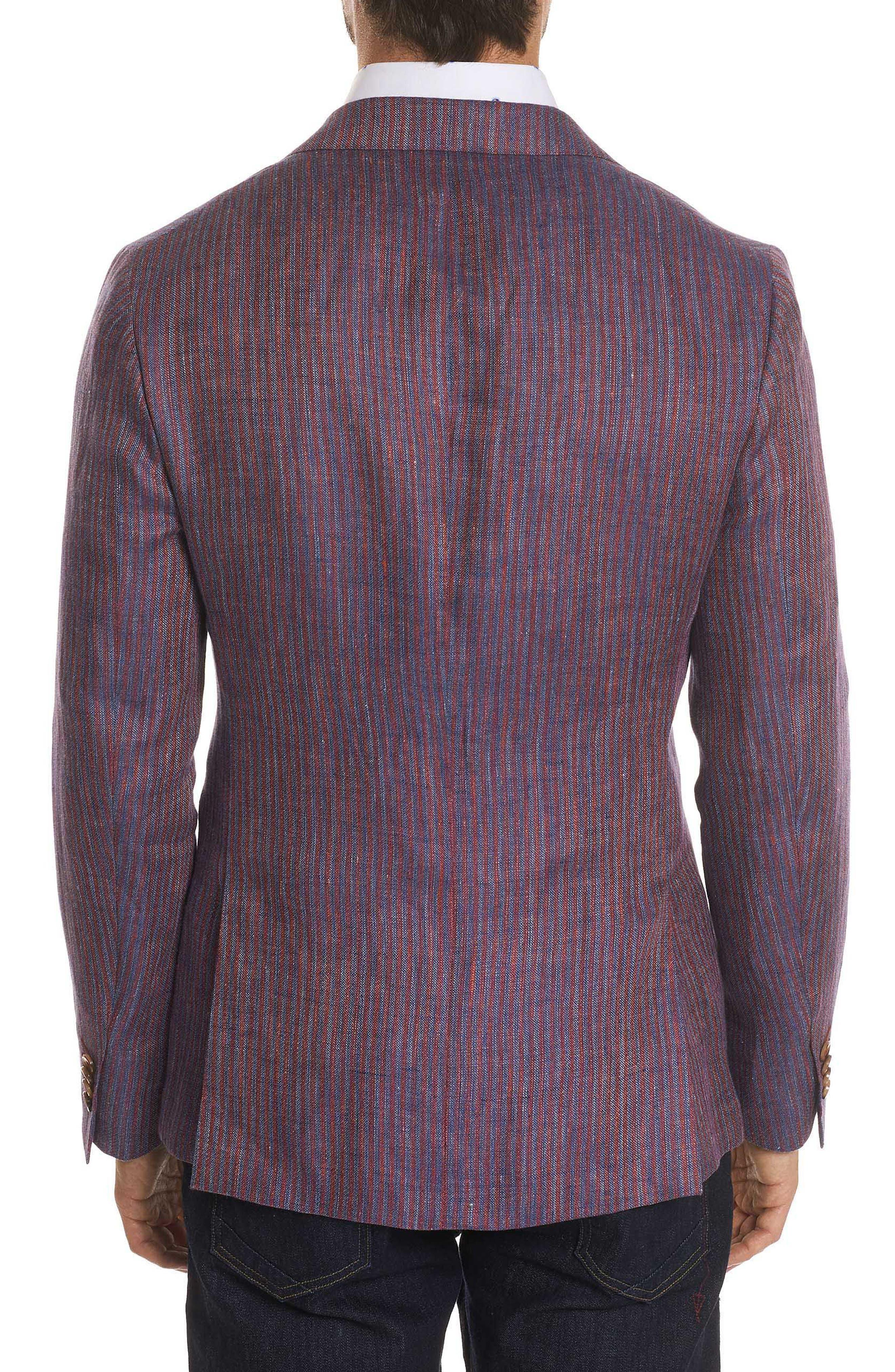 Corbett Tailored Fit Stripe Linen Sport Coat,                             Alternate thumbnail 2, color,                             Berry