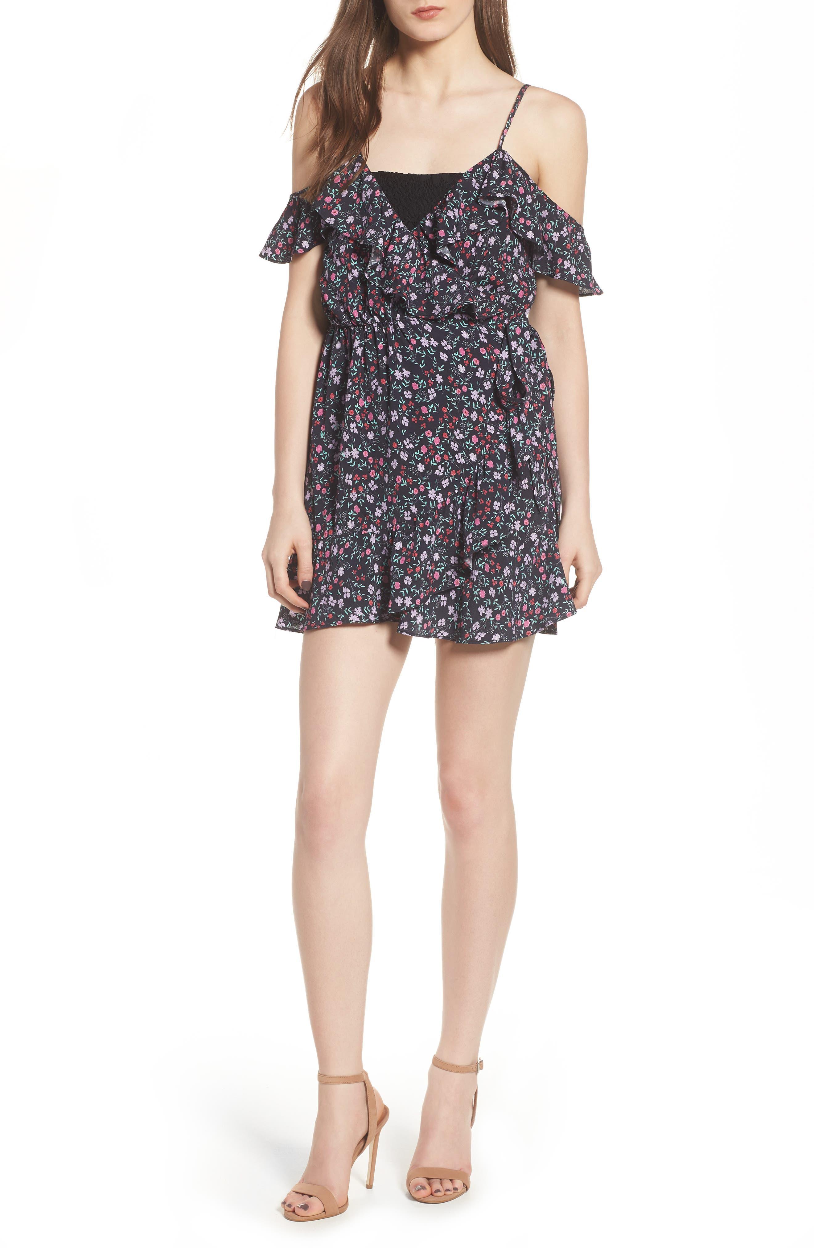 Skye Wrap Minidress,                         Main,                         color, Ditsy Floral