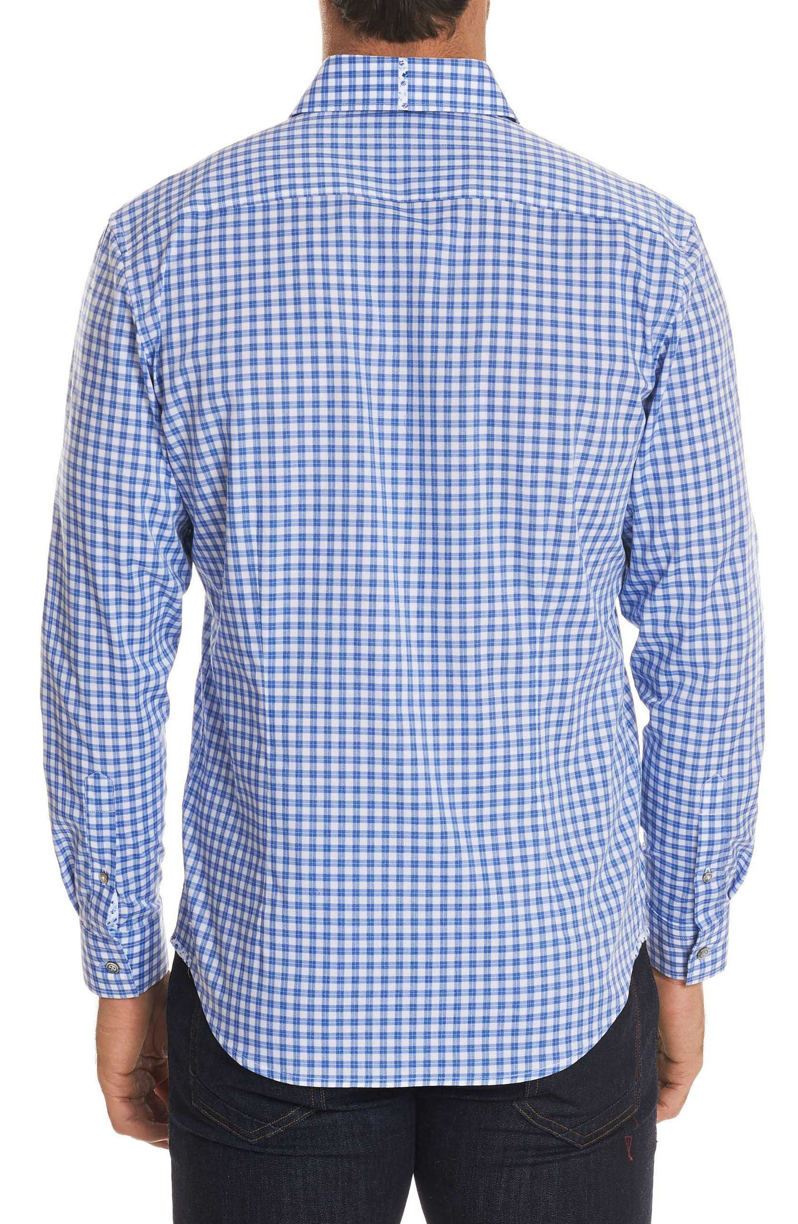 Rye Tailored Fit Check Sport Shirt,                             Alternate thumbnail 2, color,                             Blue