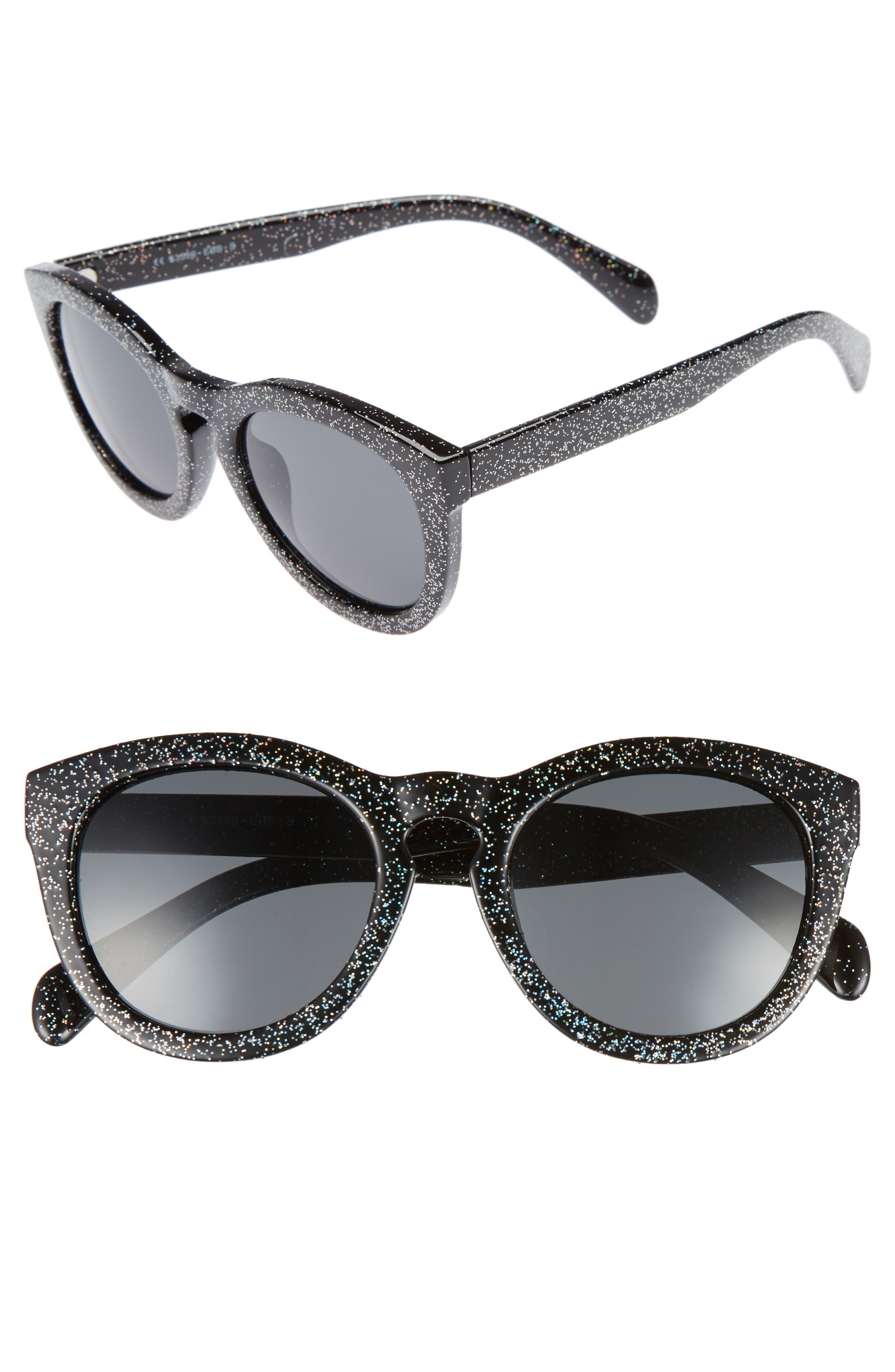 50mm Glitter Round Sunglasses,                             Main thumbnail 1, color,                             Black