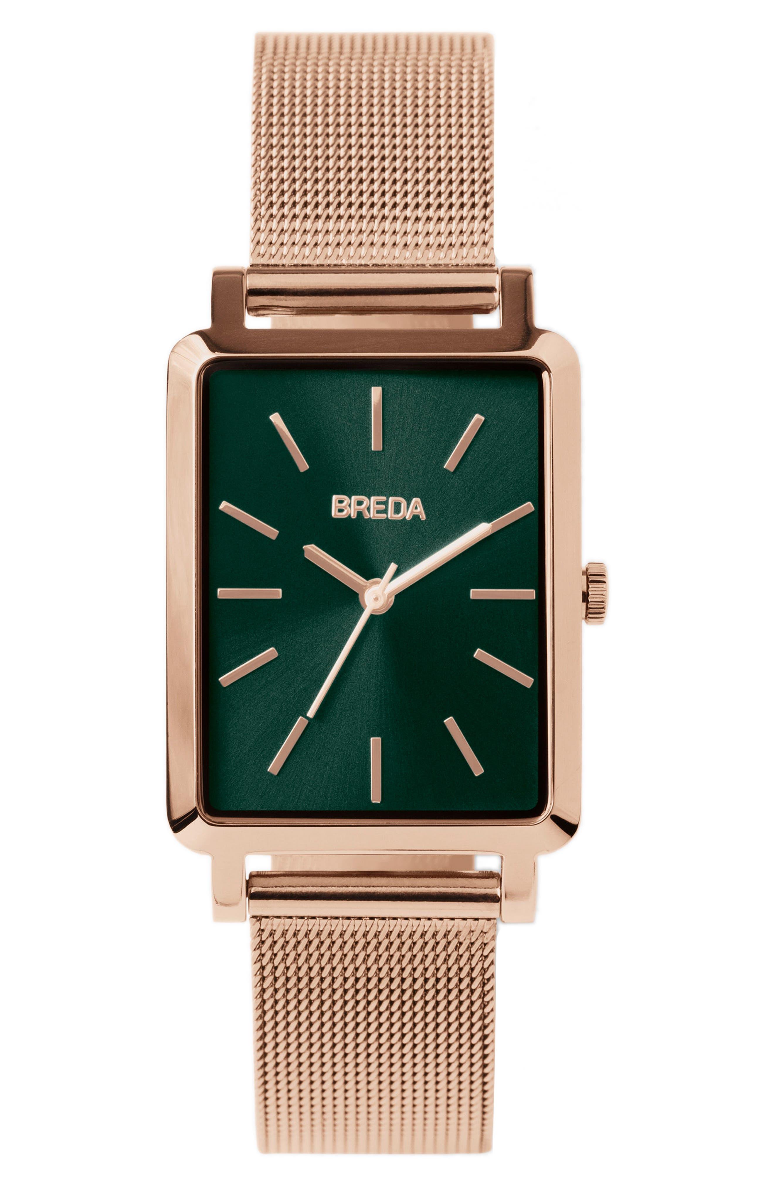 Baer Mesh Strap Watch, 26mm,                         Main,                         color, Rose Gold/ Emerald/ Rose Gold