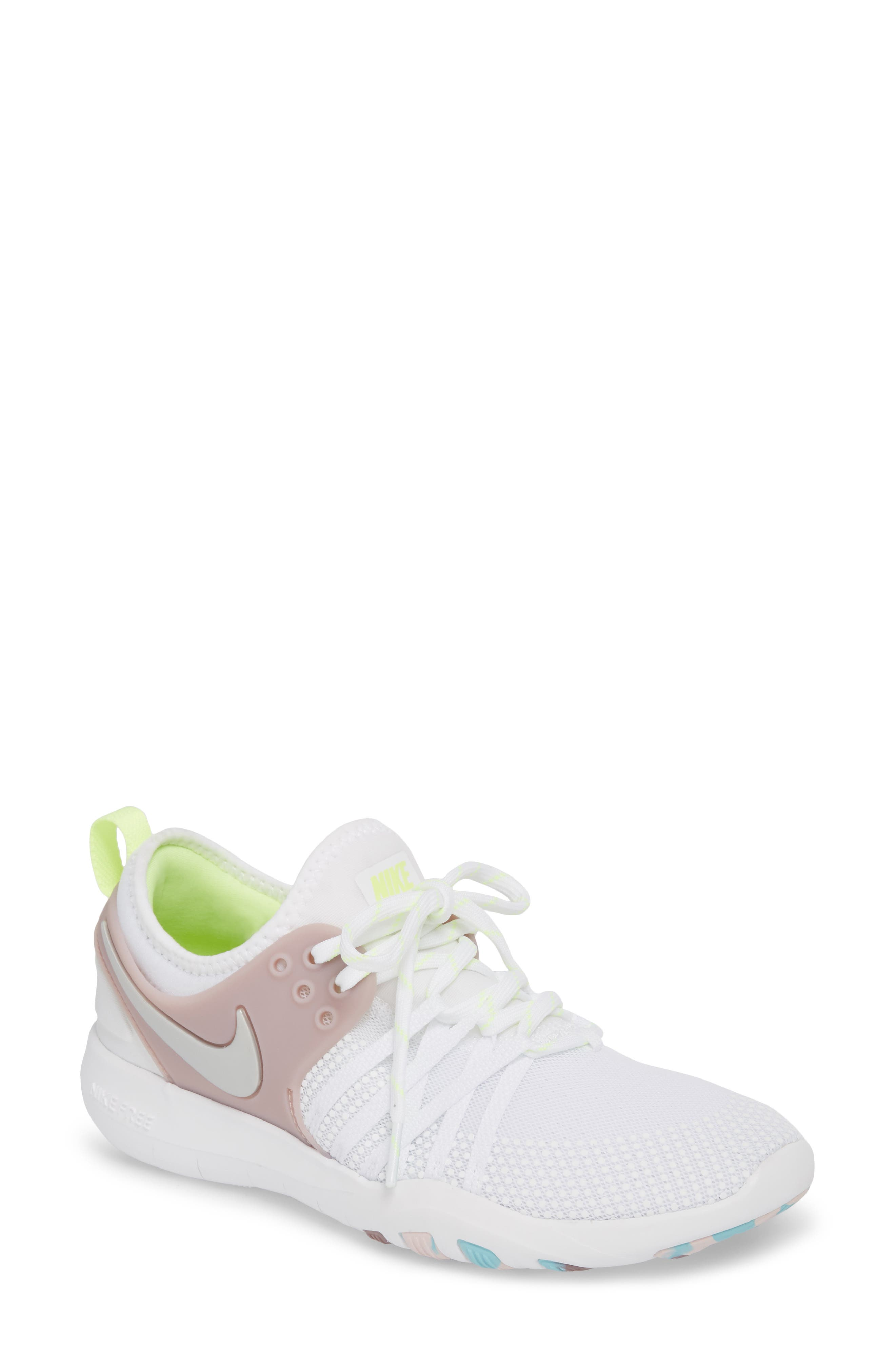 Free TR 7 Training Shoe,                         Main,                         color, White/ Silver