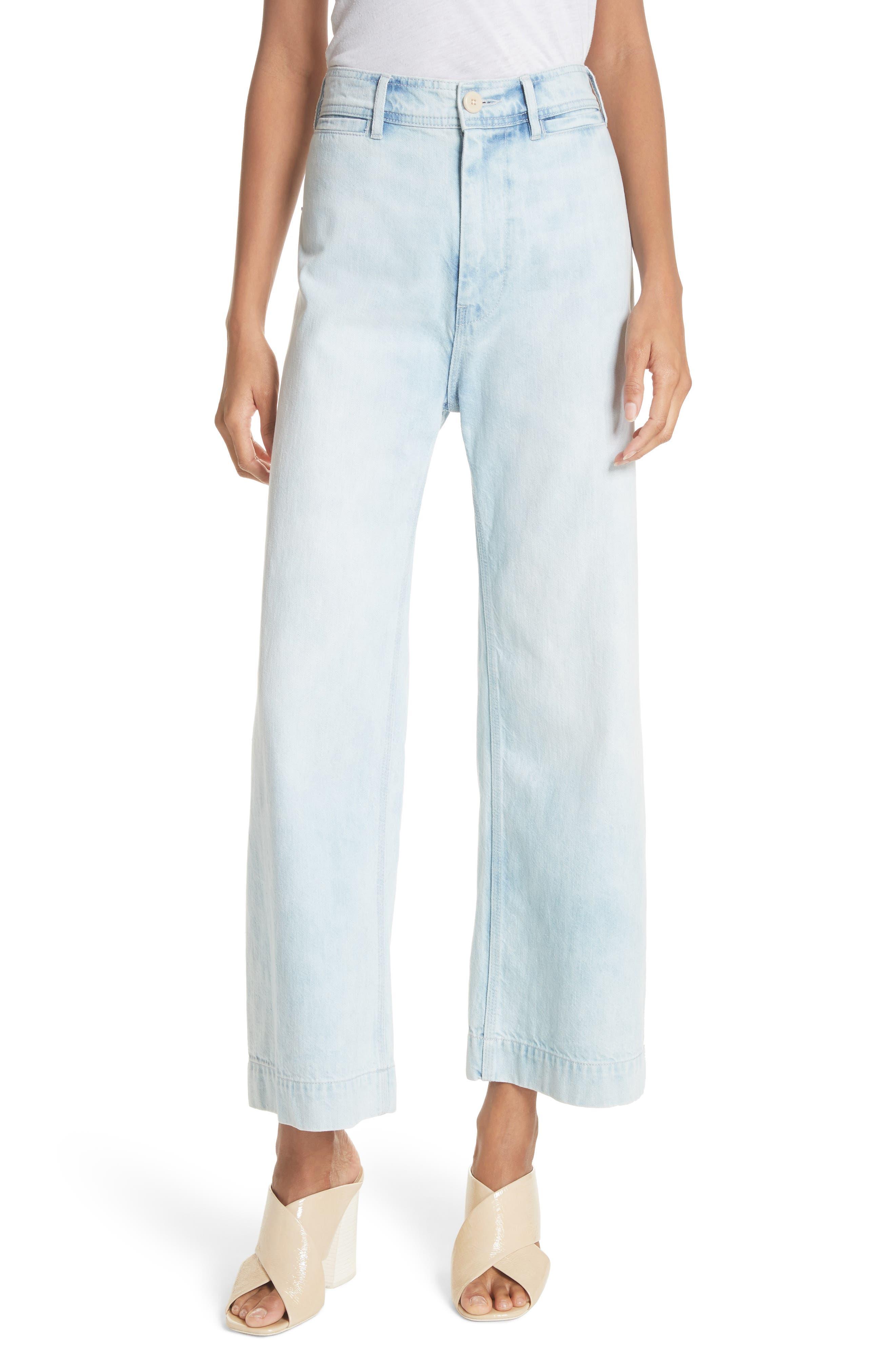 Crop Wide Leg Jeans,                             Main thumbnail 1, color,                             Nuage Wash