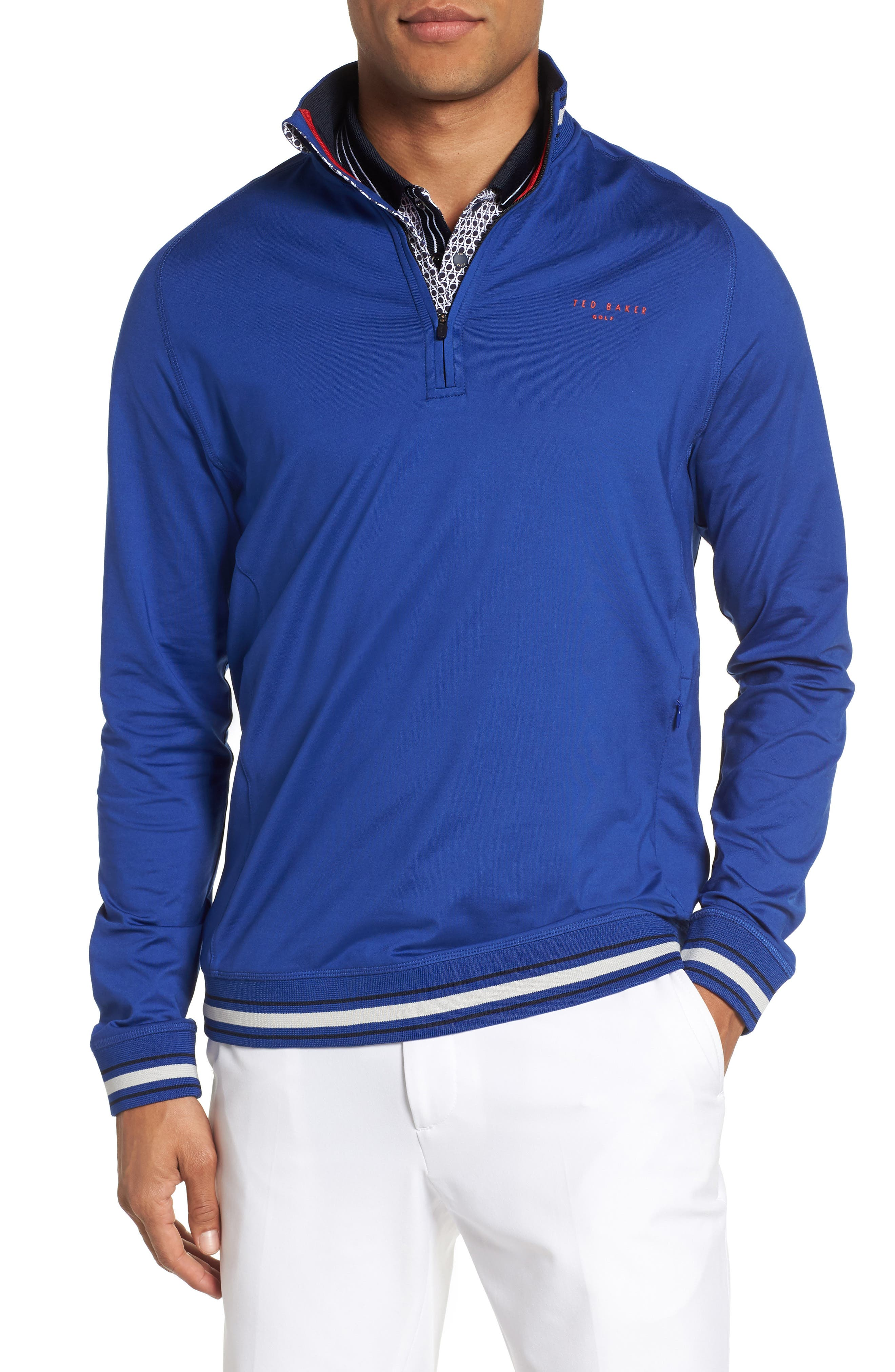 Trim Fit Quarter Zip Golf Pullover,                             Main thumbnail 1, color,                             Bright Blue