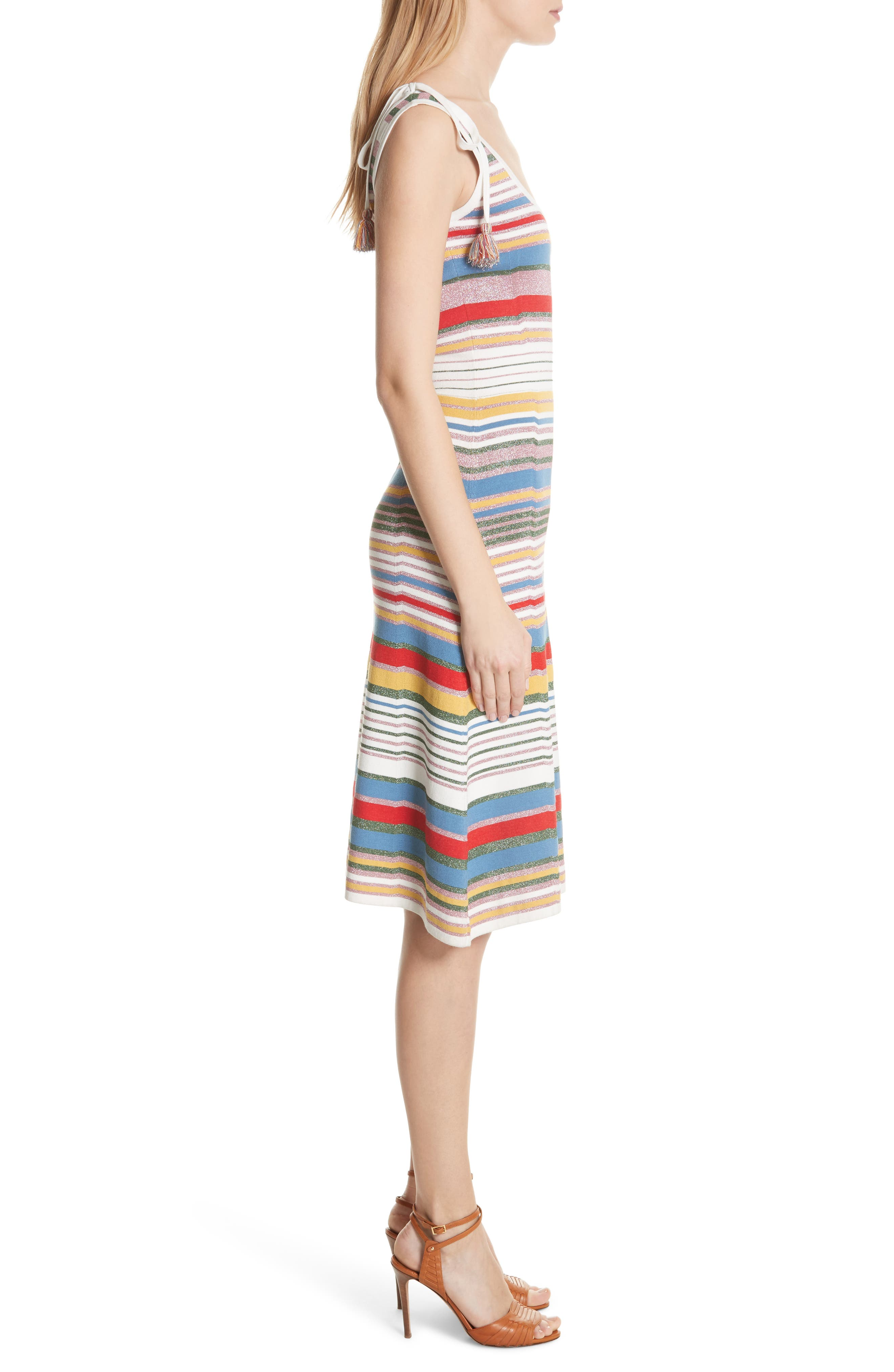 Dulce Glitter Stripe Dress,                             Alternate thumbnail 3, color,                             Multi