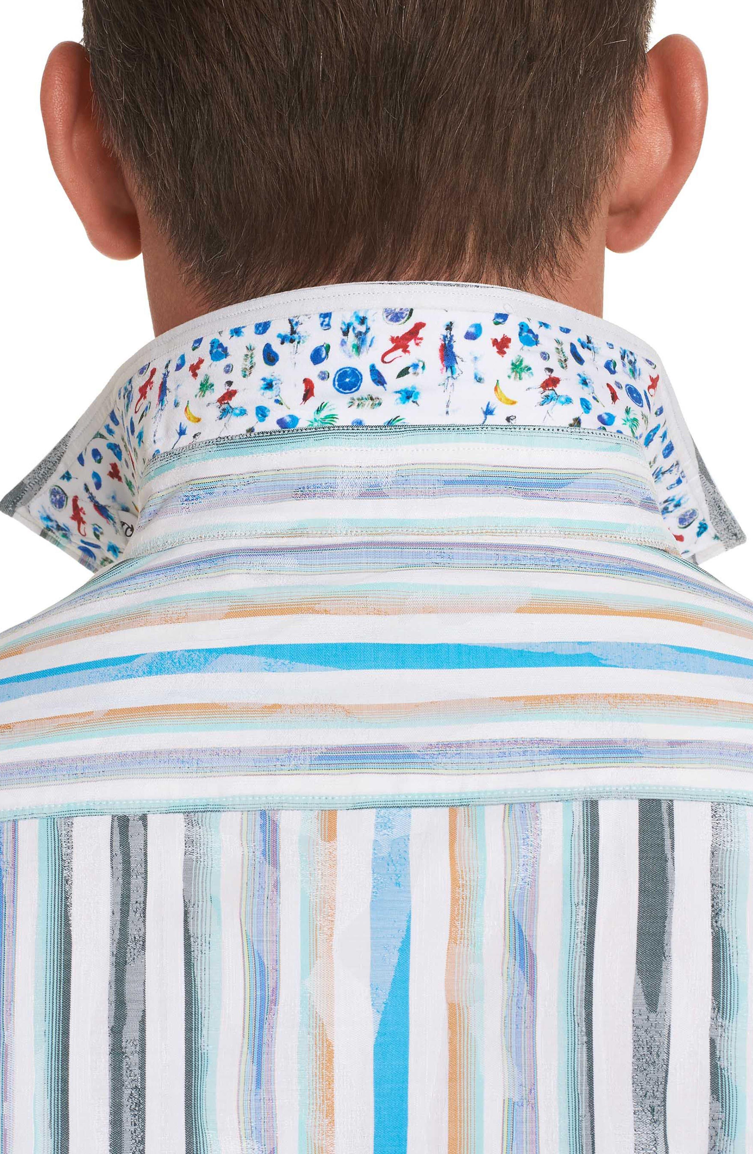 Murals Classic Fit Stripe Sport Shirt,                             Alternate thumbnail 4, color,                             White