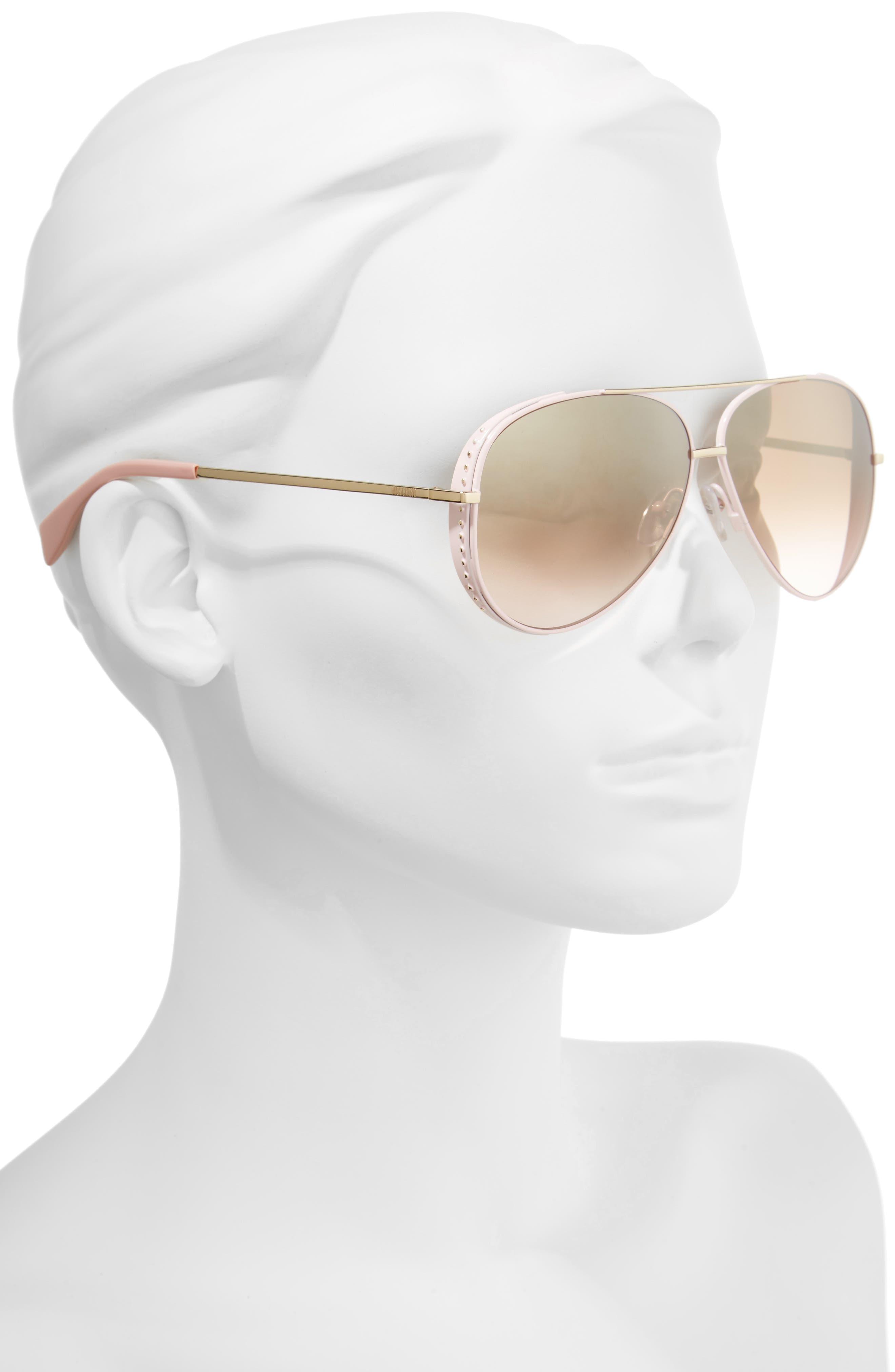 61mm Metal Aviator Sunglasses,                             Alternate thumbnail 2, color,                             Pink