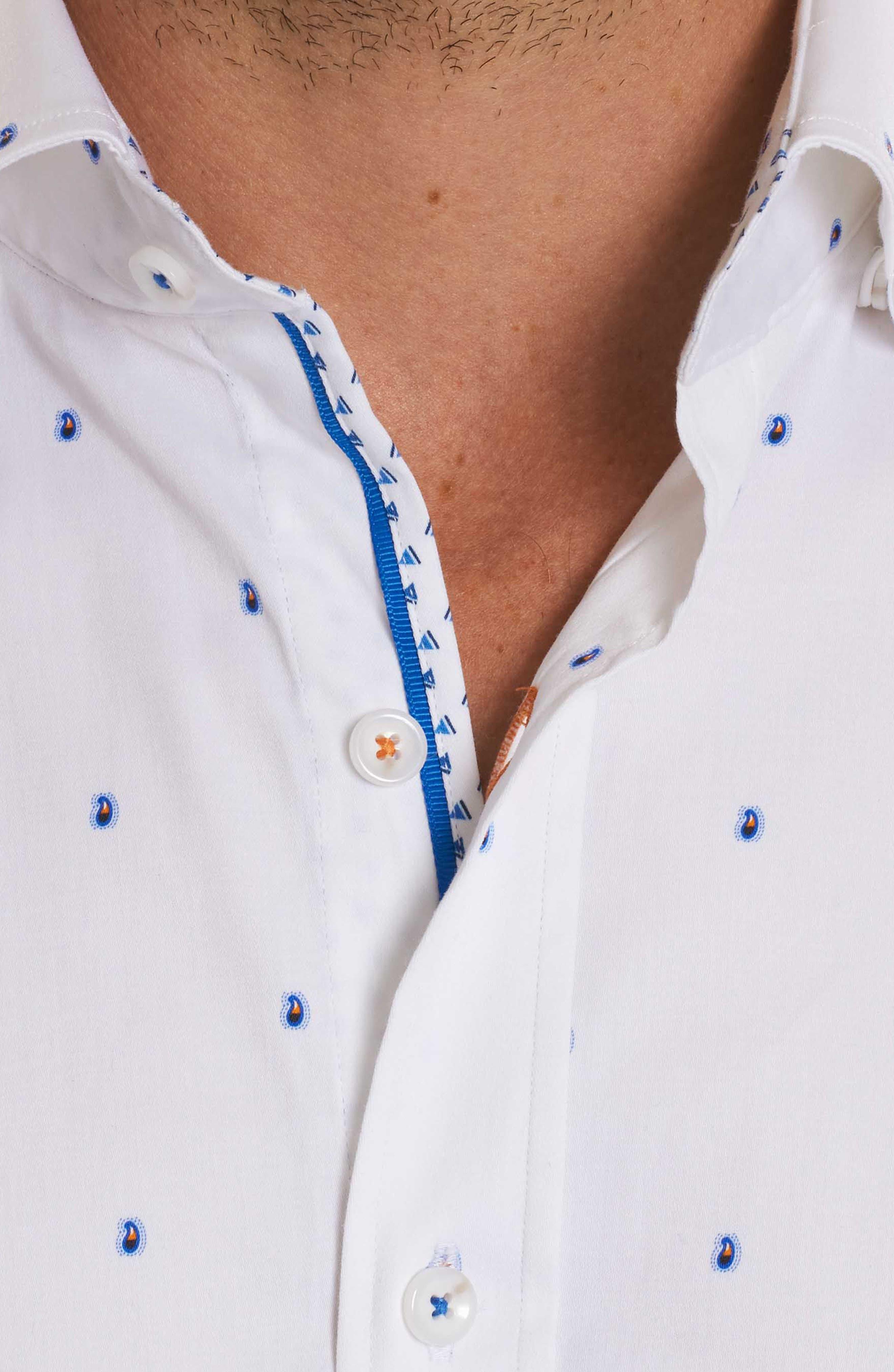 Mack Tailored Fit Sport Shirt,                             Alternate thumbnail 4, color,                             White