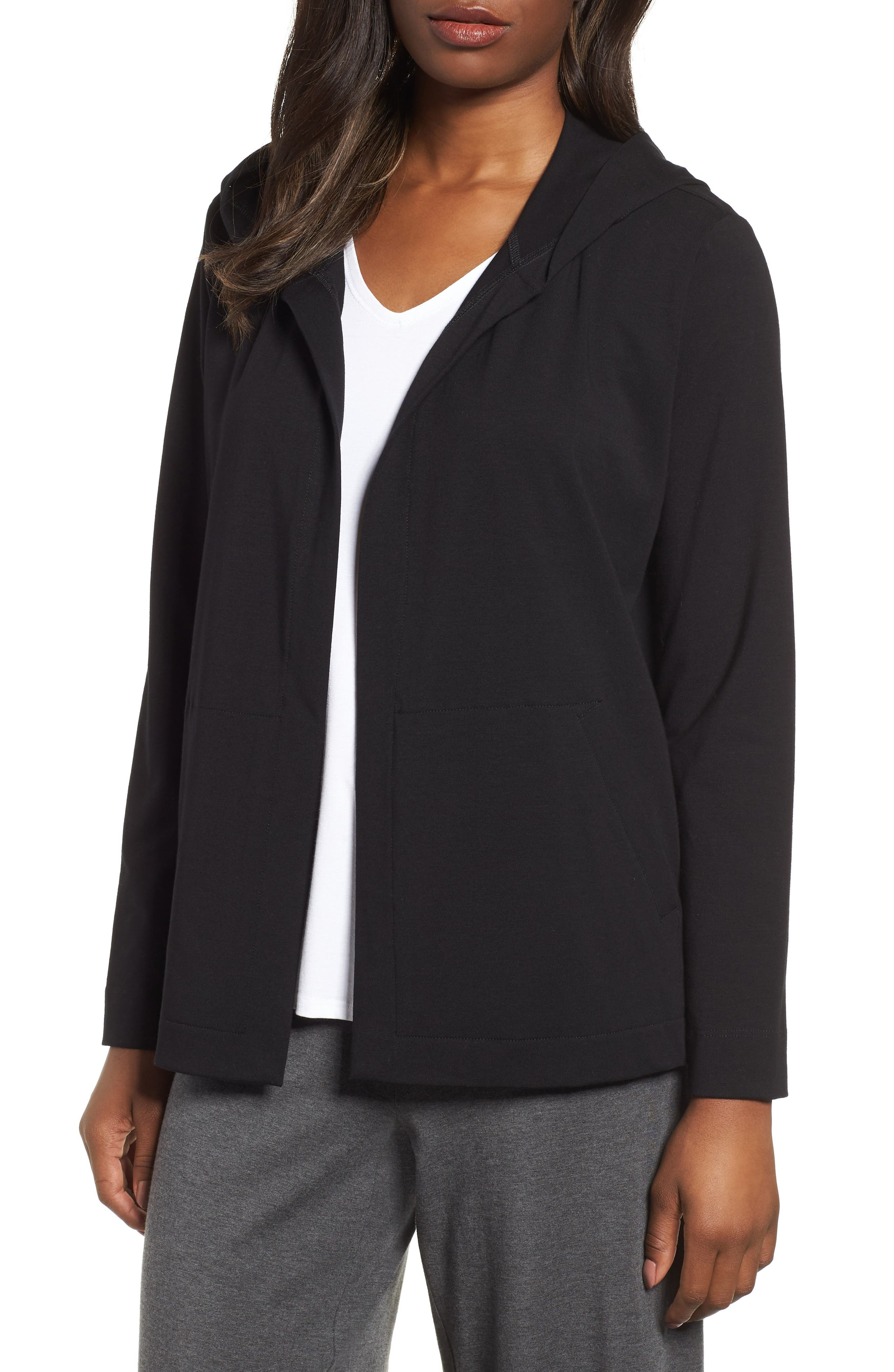 Stretch Organic Cotton Hooded Cardigan,                             Main thumbnail 1, color,                             Black