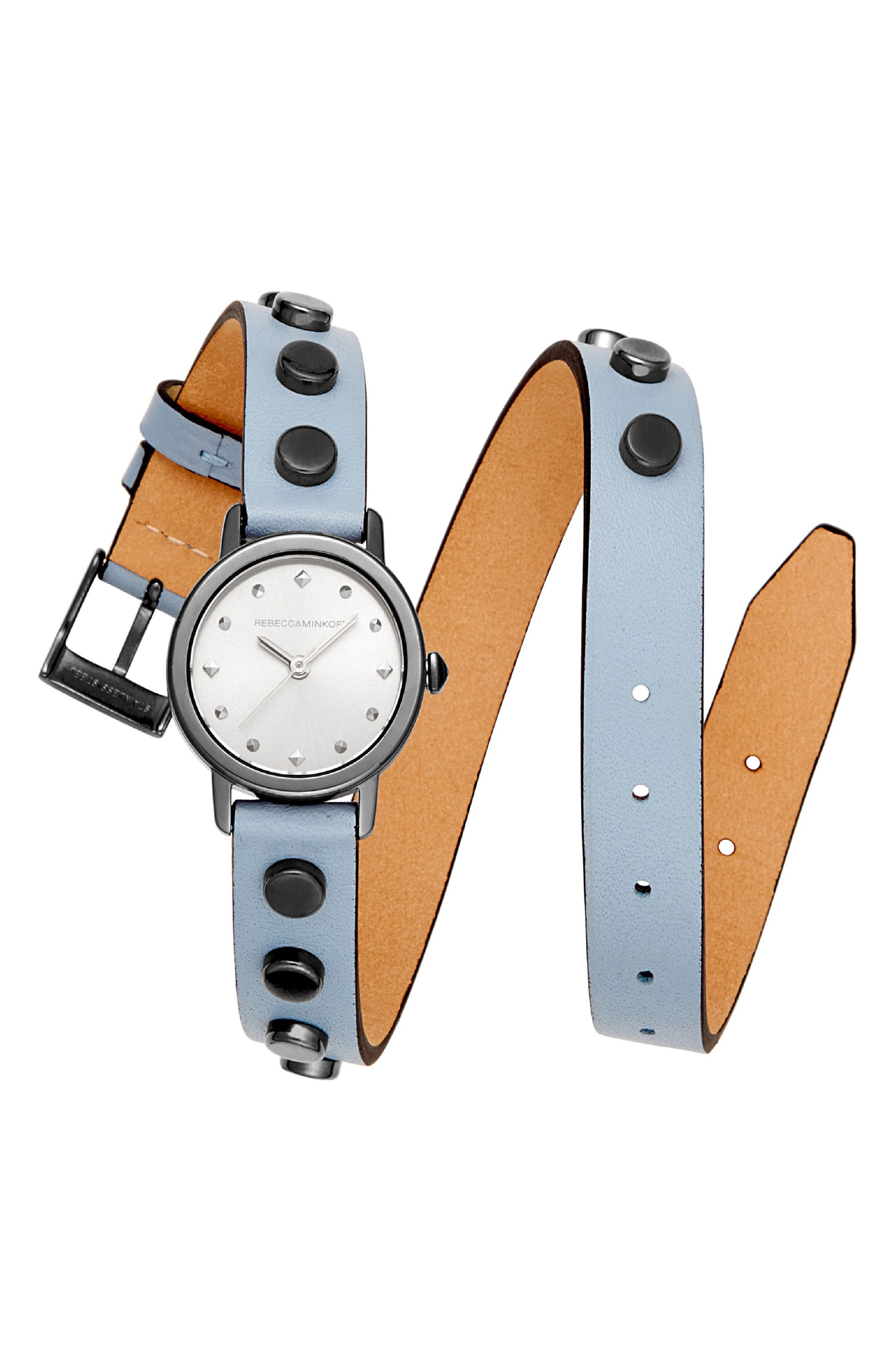 BFFLS Double Wrap Leather Strap Watch, 25mm,                         Main,                         color, Blue/ Grey