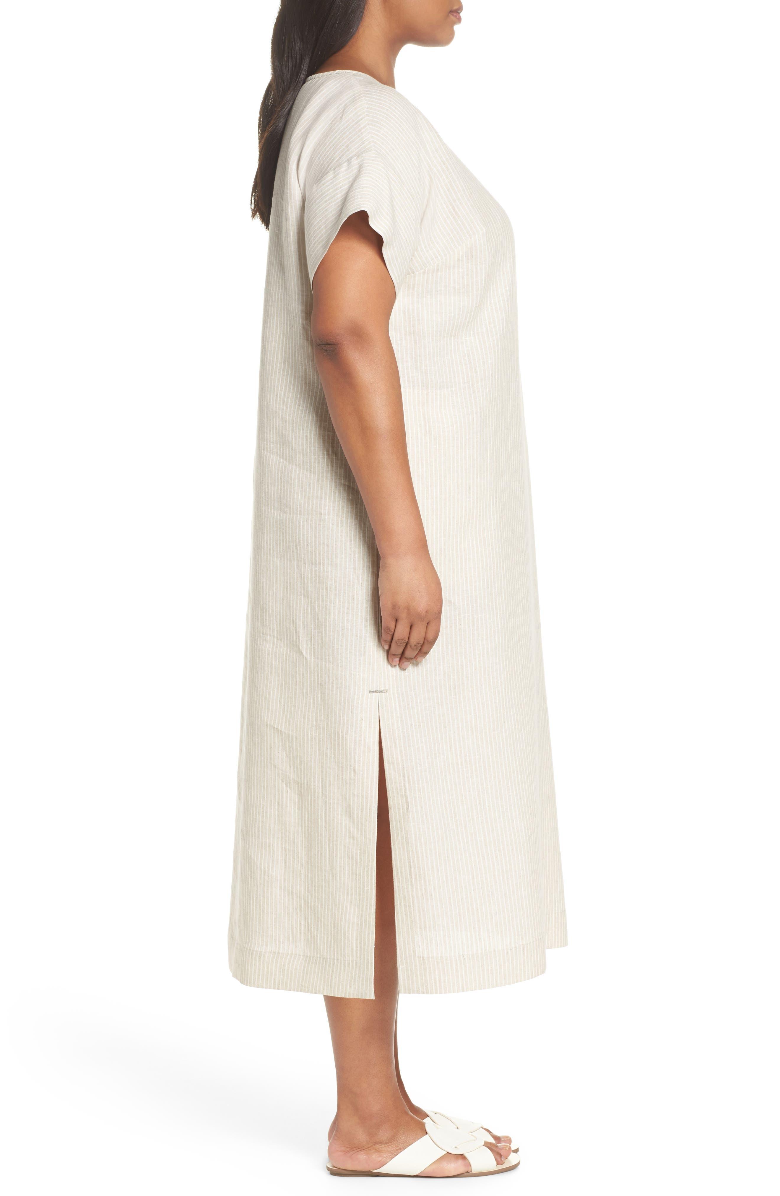 Emiline Stripe Linen Dress,                             Alternate thumbnail 3, color,                             Tahini Multi