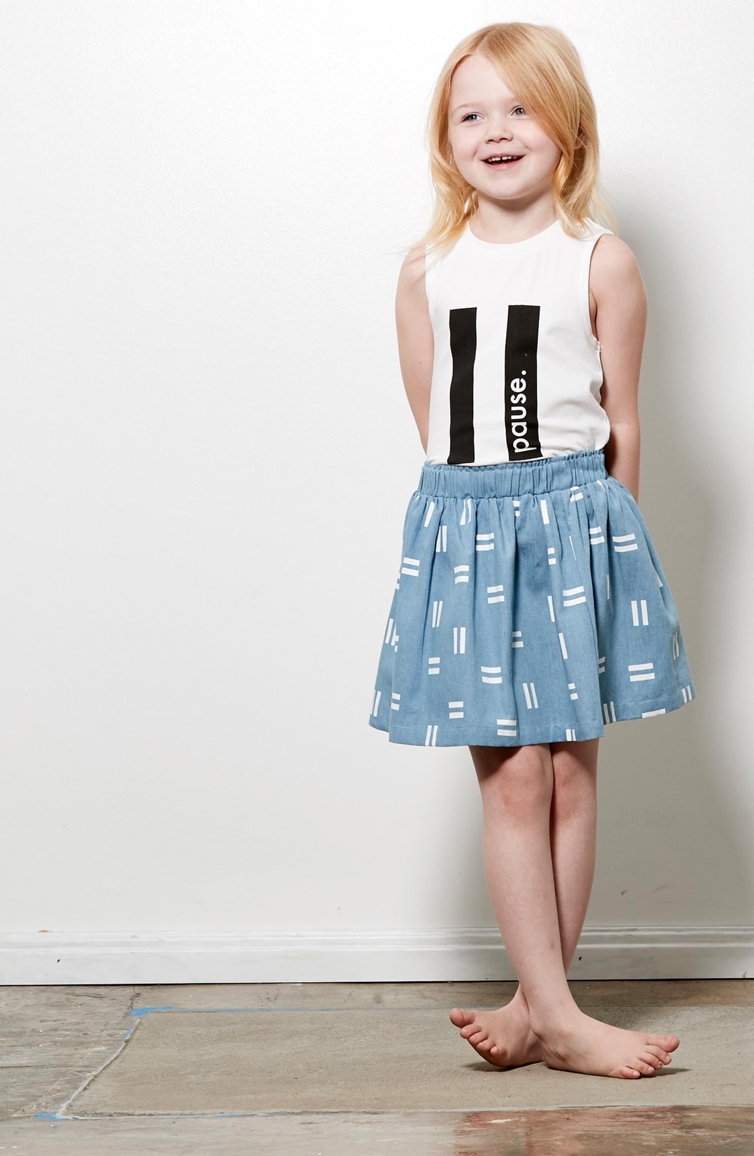 Pause Tank & Chambray Skirt Set,                             Alternate thumbnail 3, color,                             White/ Chambray