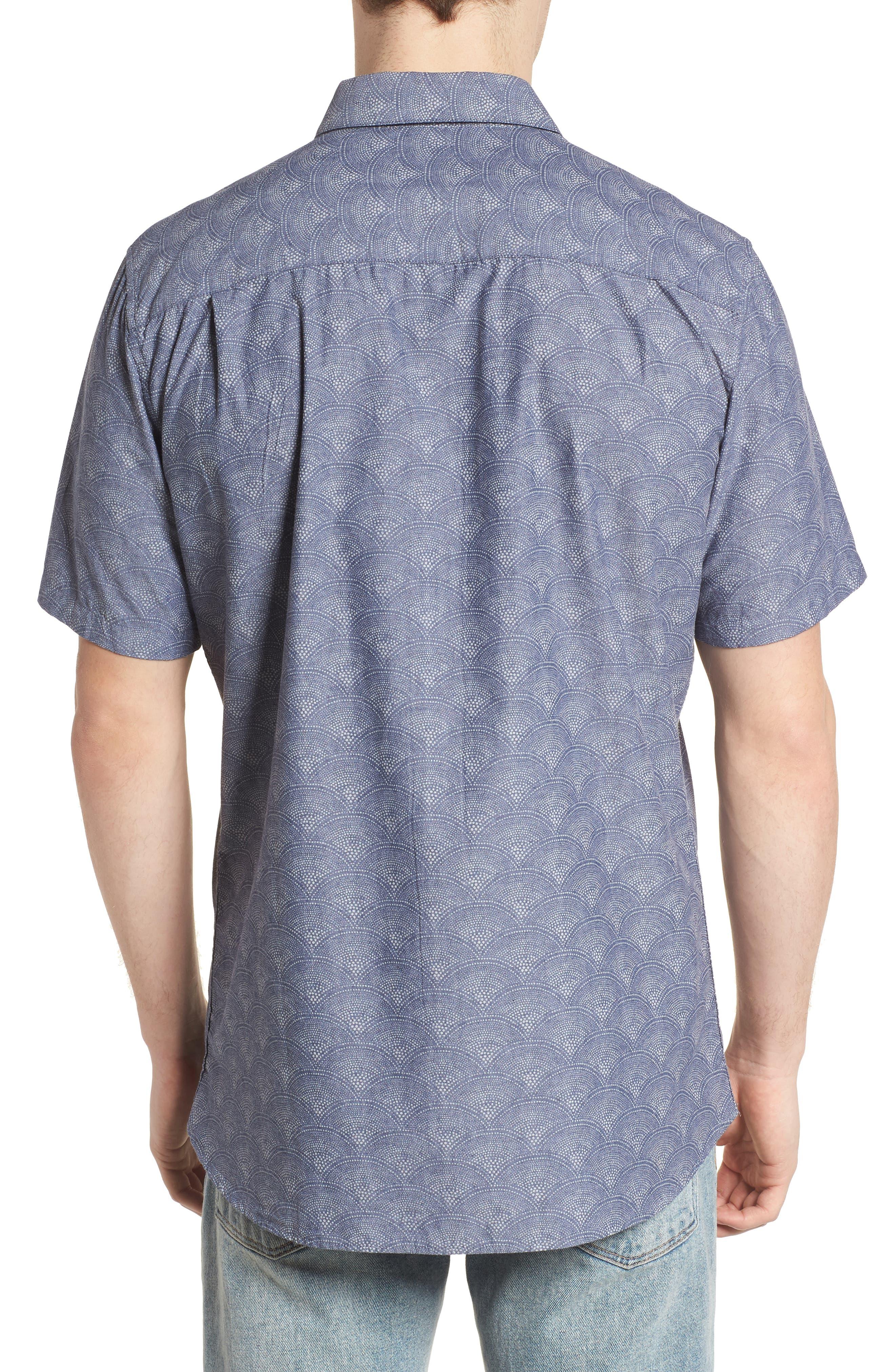 Pescado Short Sleeve Oxford Shirt,                             Alternate thumbnail 2, color,                             Obsidian