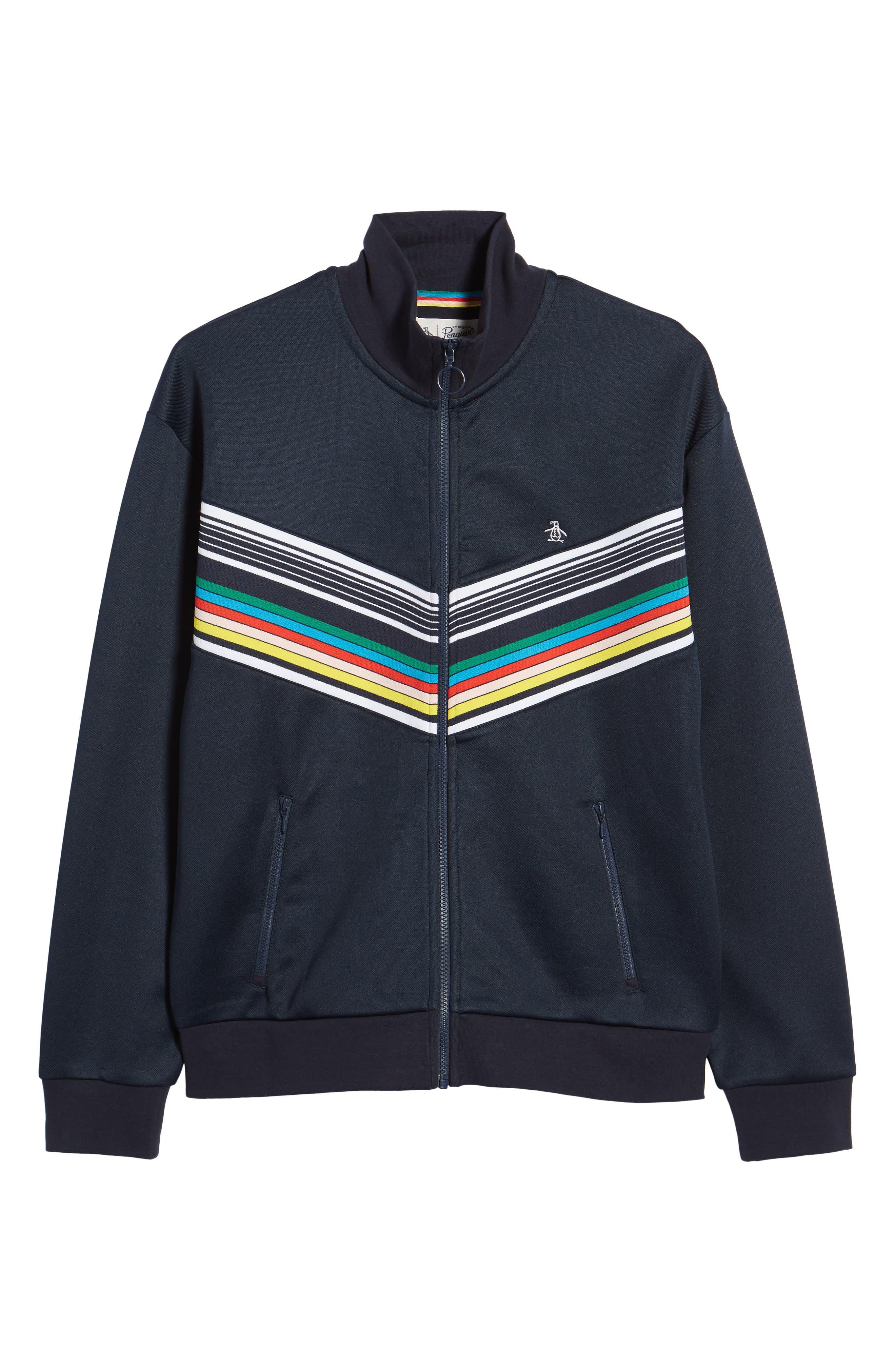 Stripe Track Jacket,                             Alternate thumbnail 6, color,                             Dark Sapphire