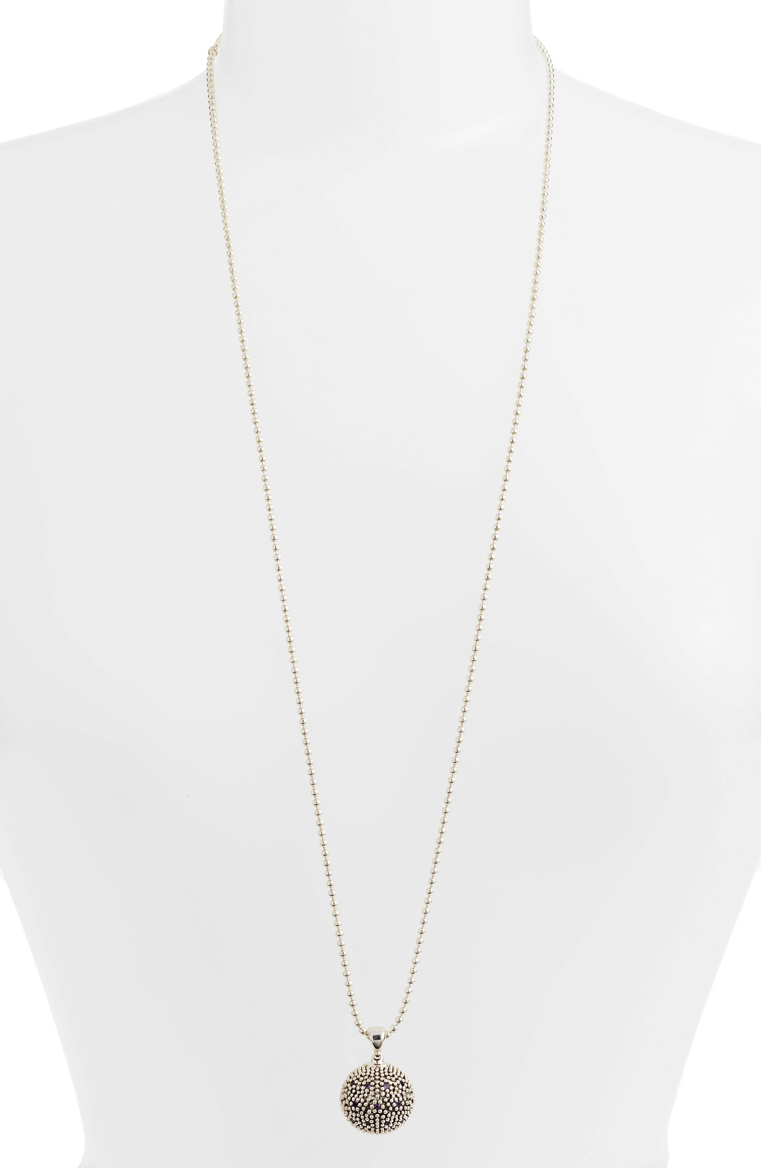 Signature Gifts Pavé & Gemstone Ball Pendant,                             Alternate thumbnail 2, color,                             Silver/ Amethyst
