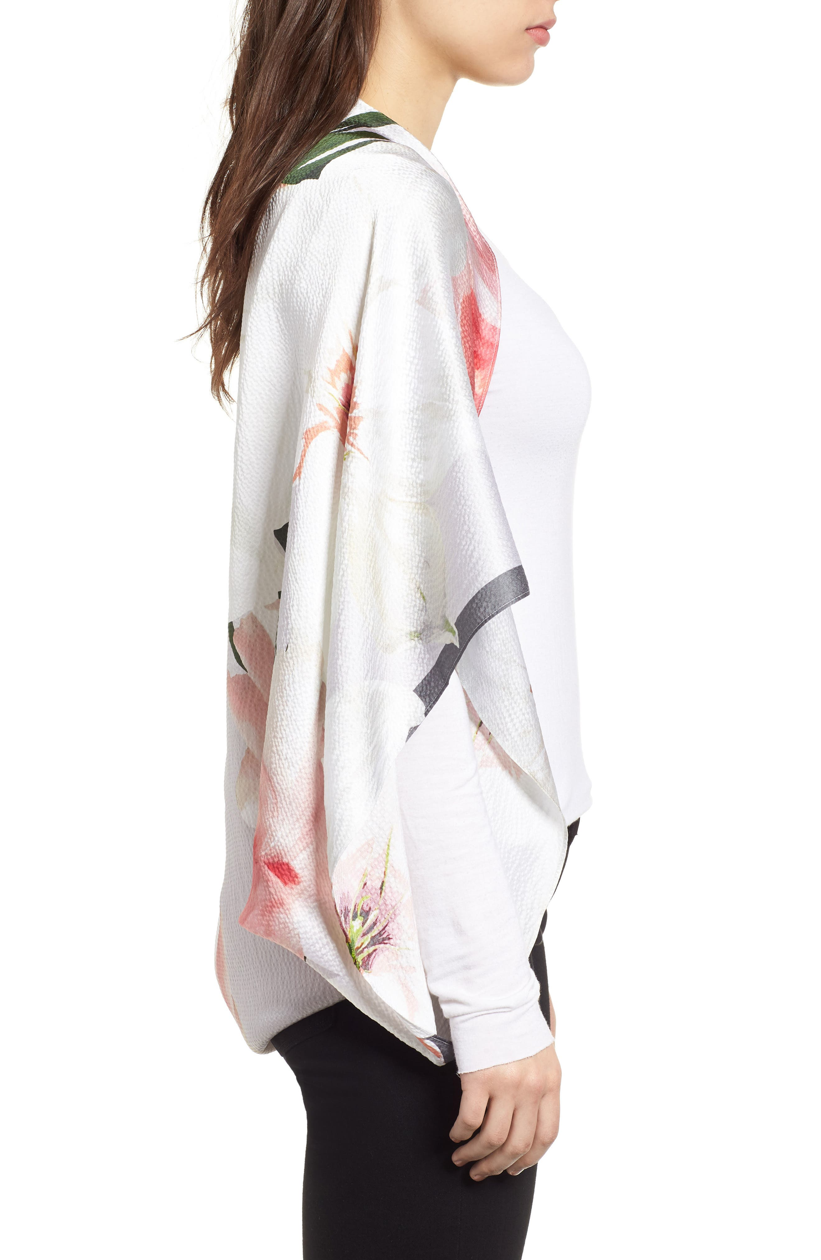 Chatsworth Bloom Silk Cape Scarf,                             Alternate thumbnail 3, color,                             Mid Grey