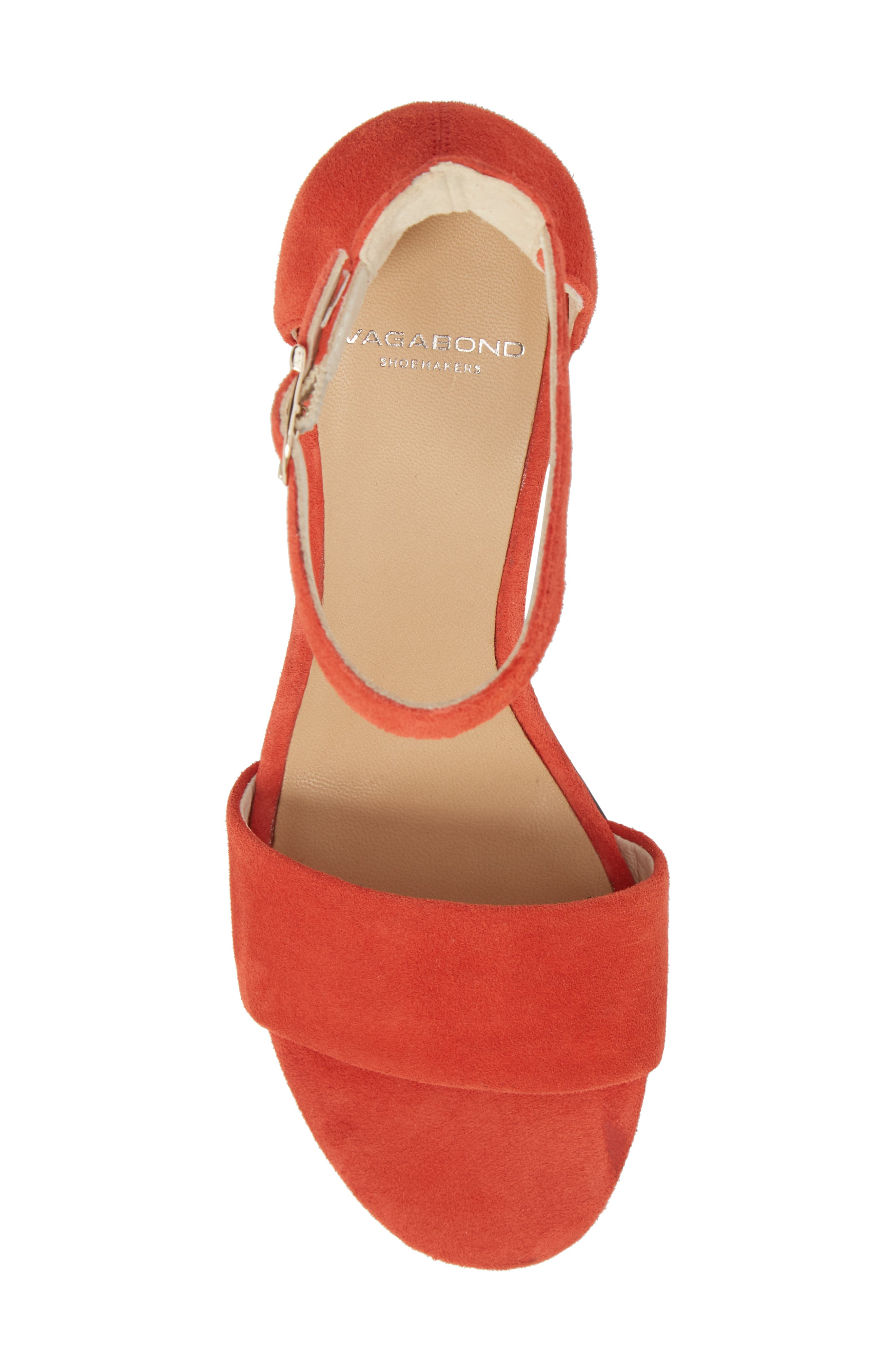 Carol Ankle Strap Sandal,                             Alternate thumbnail 5, color,                             Coral Suede
