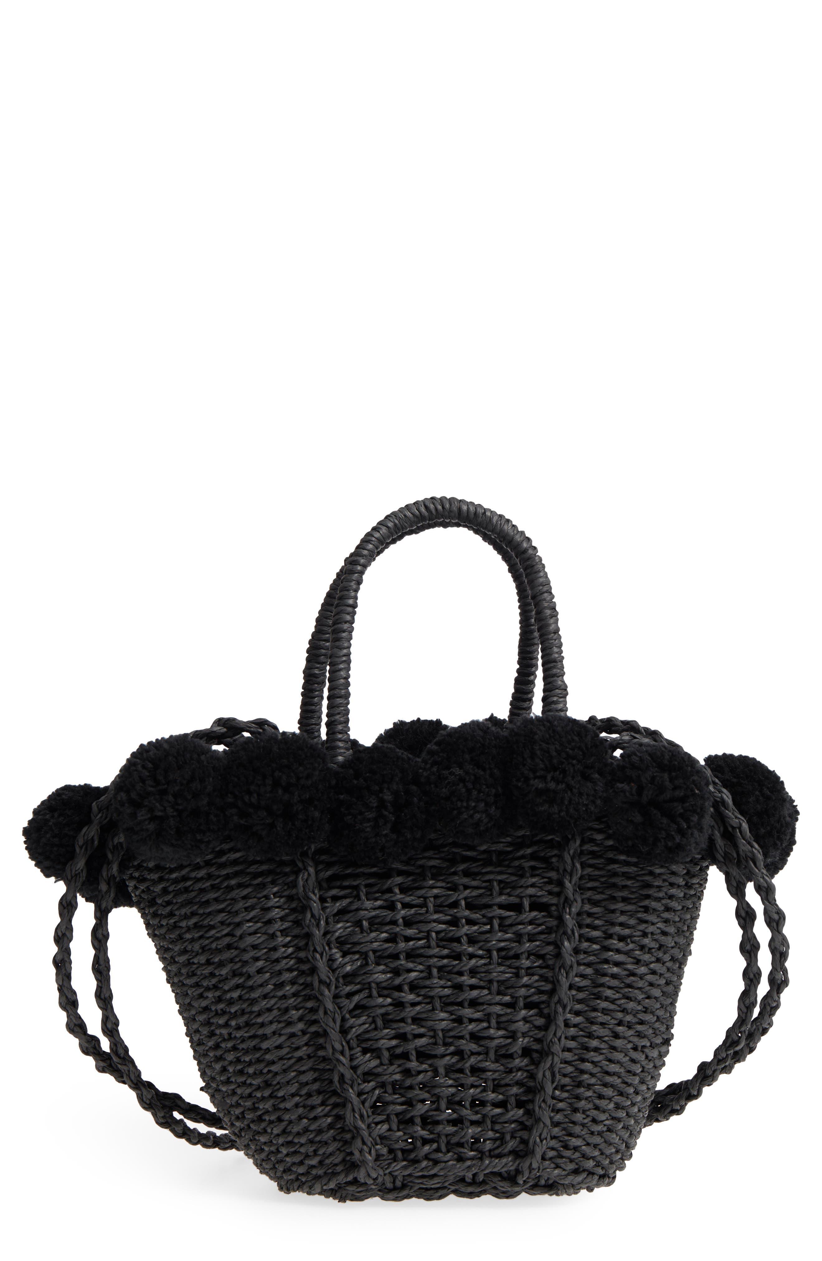 Sia Pom Straw Shopper Bag,                         Main,                         color, Black