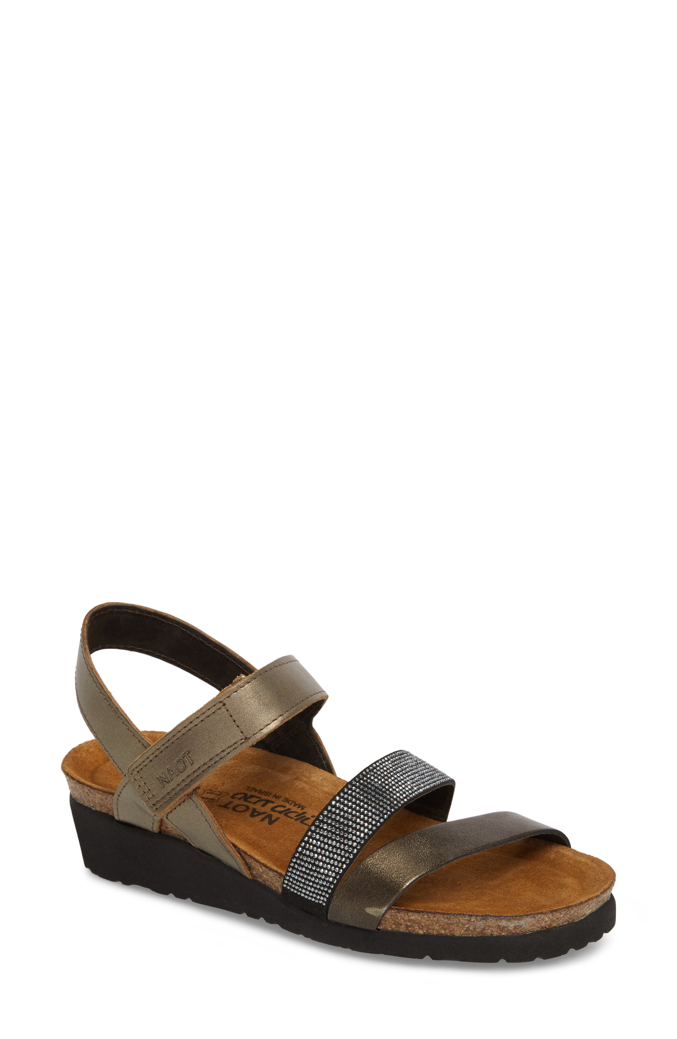 'Krista' Sandal,                         Main,                         color, Pewter Leather