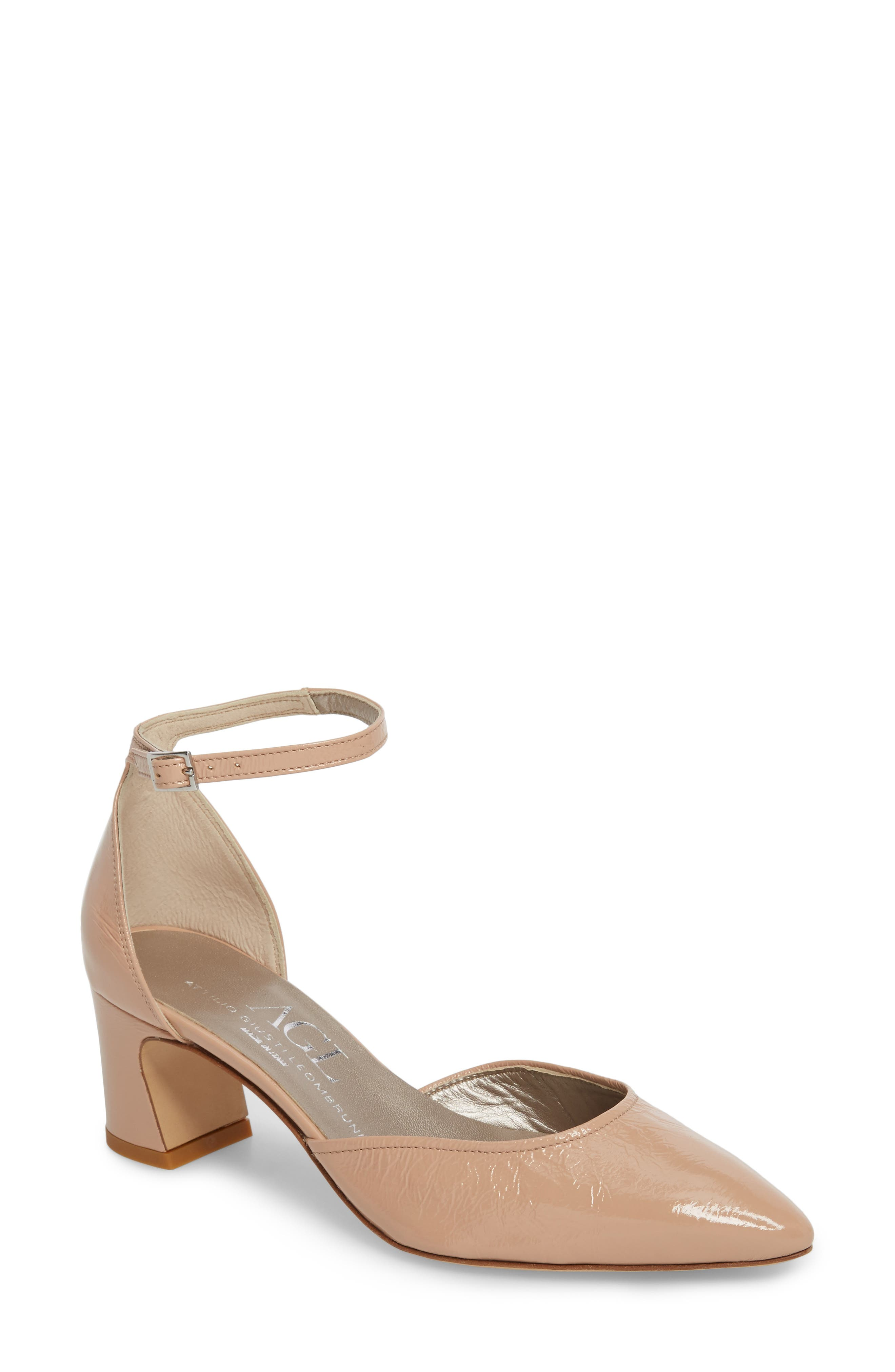 d'Orsay Ankle Strap Pump,                             Main thumbnail 1, color,                             Nude Glammy Leather