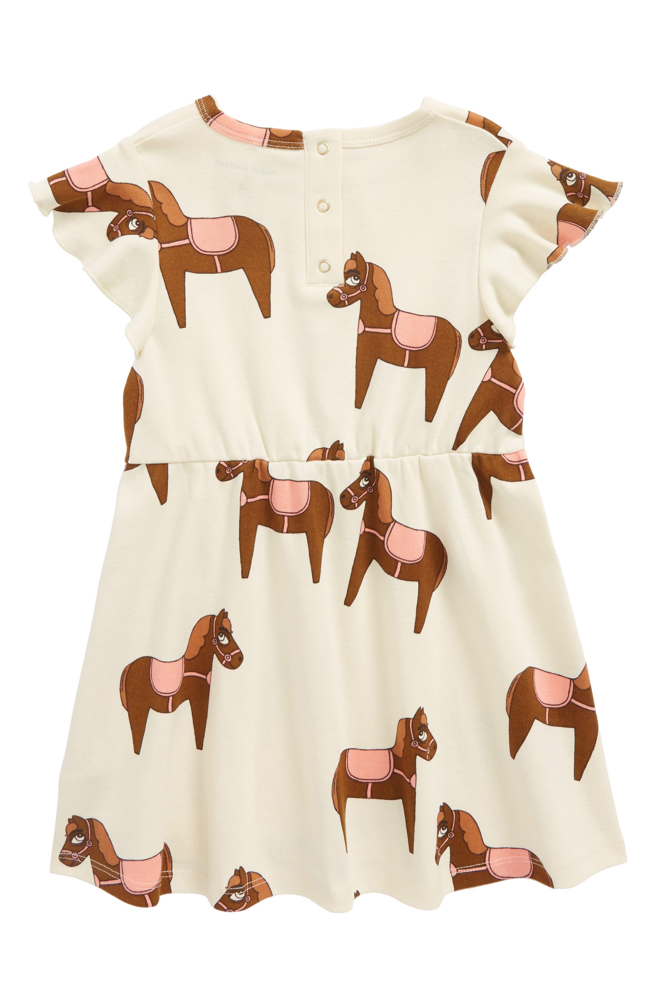Horse Print Organic Cotton Dress,                             Alternate thumbnail 2, color,                             Pink