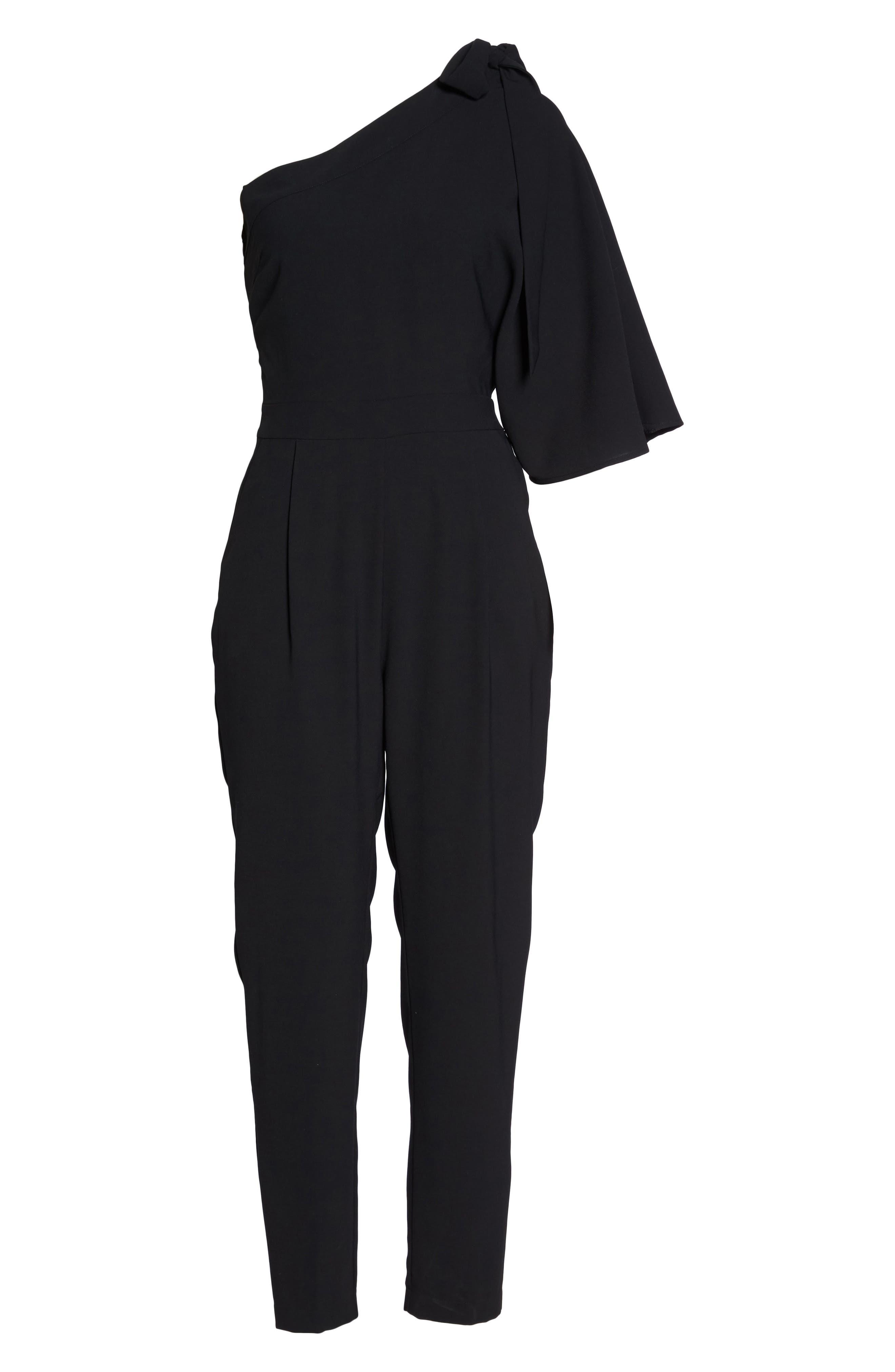 Willow One-Shoulder Jumpsuit,                             Alternate thumbnail 6, color,                             Black