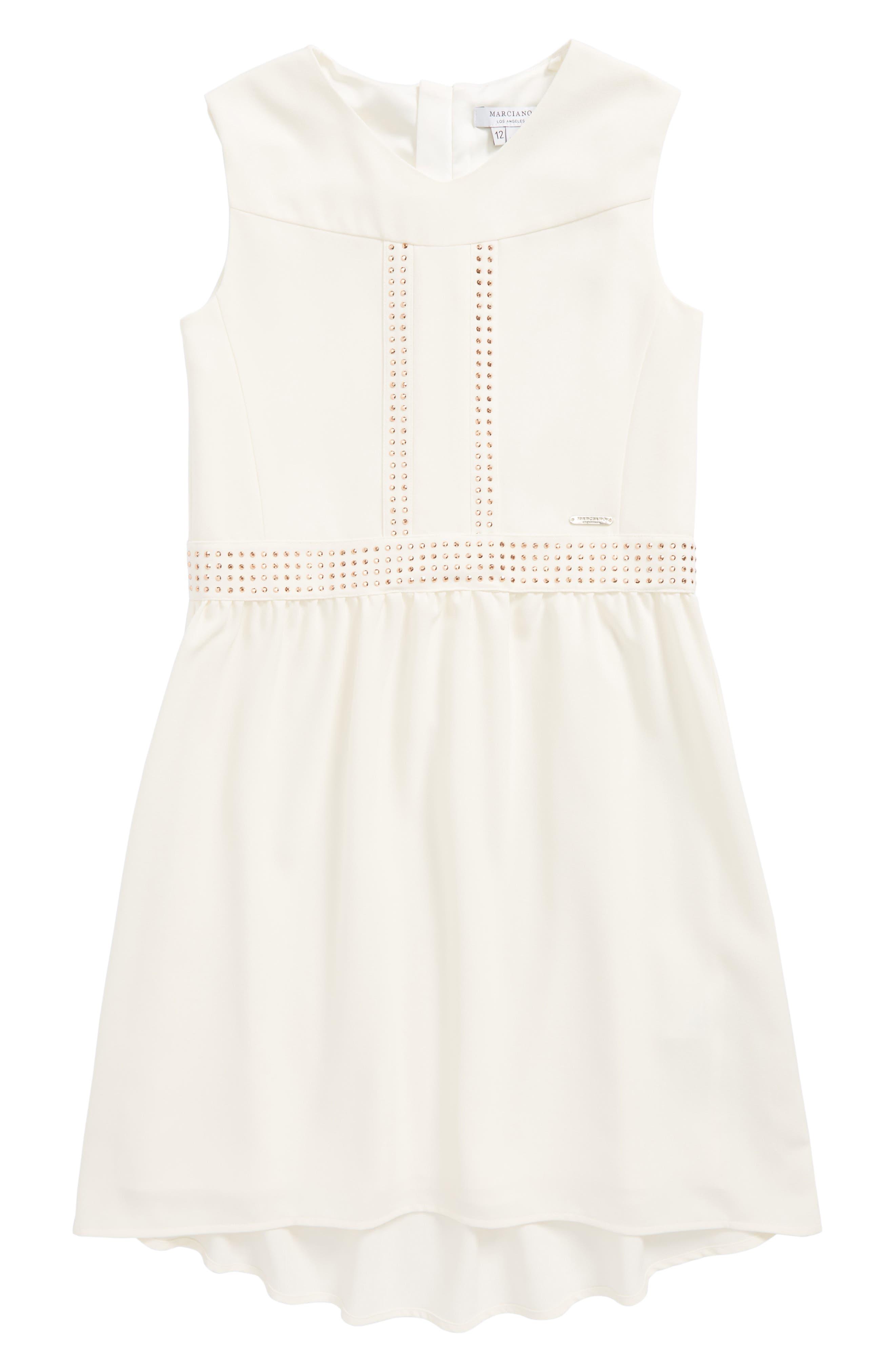 Marciano Embellished Crepe High/Low Dress (Big Girls)