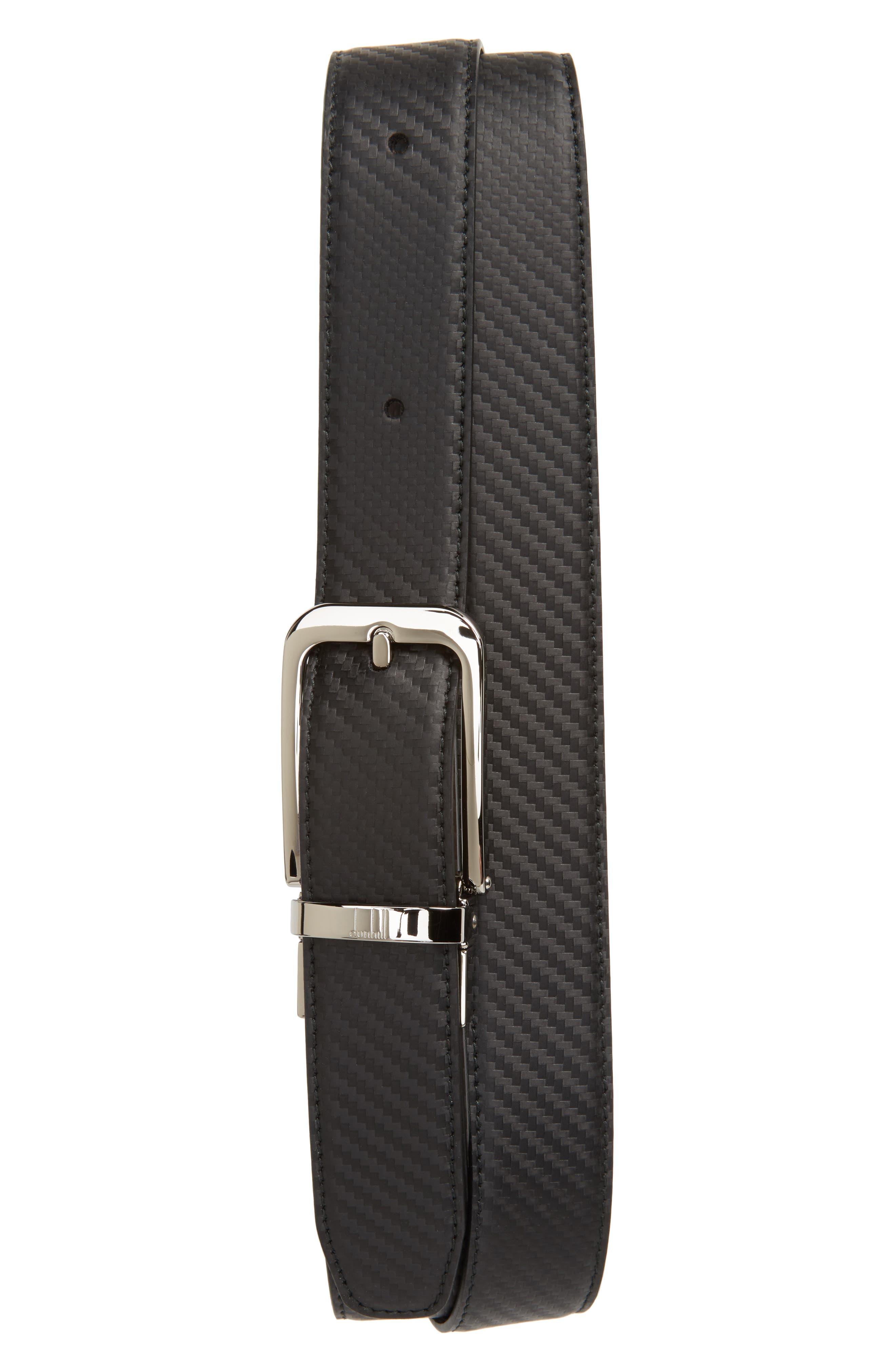 Twist Round Chass Reversible Leather Belt,                         Main,                         color, Black