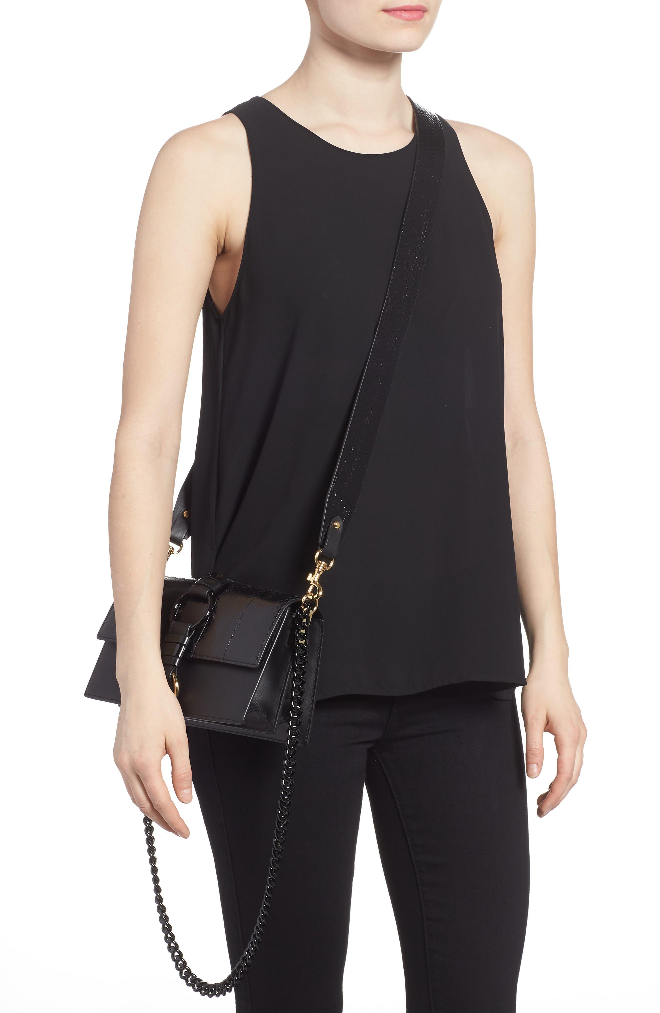 Bonne Journée Leather & Genuine Snakeskin Crossbody Bag,                             Alternate thumbnail 2, color,                             Black