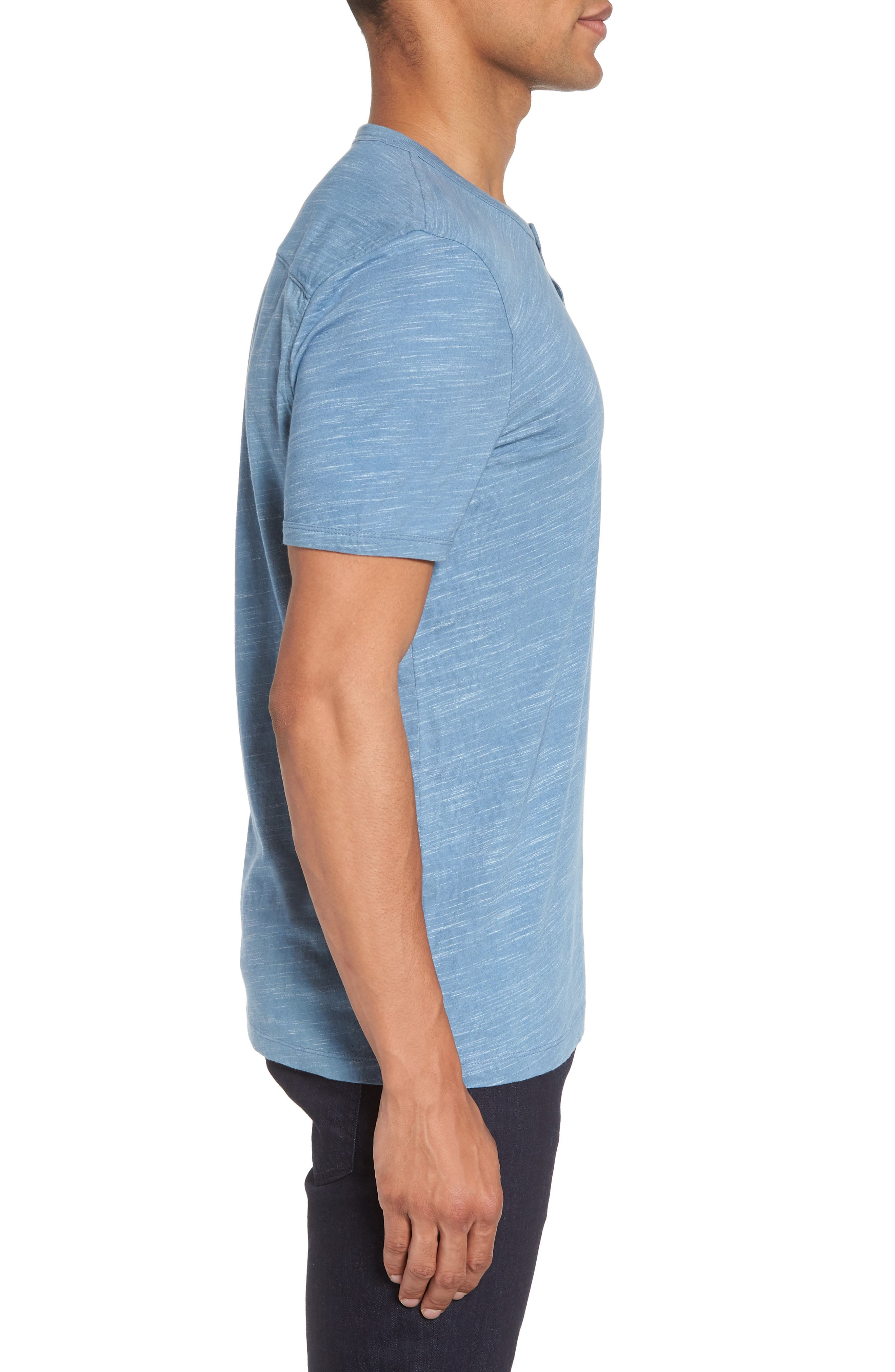 Space Dyed One-Button Henley T-Shirt,                             Alternate thumbnail 3, color,                             Blue Lake Spacedye