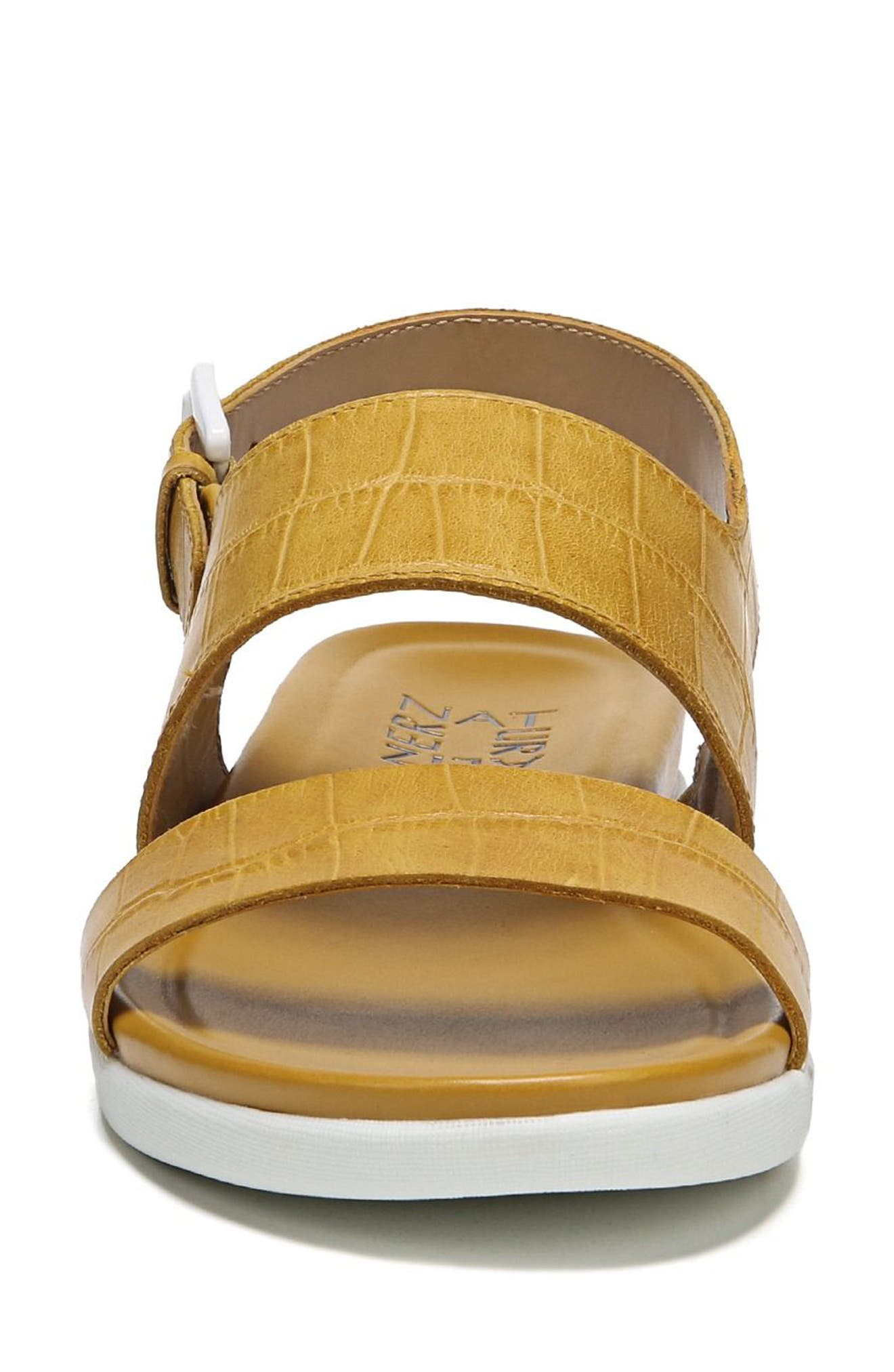 Emory Wedge Sandal,                             Alternate thumbnail 4, color,                             Yellow Printed Leather