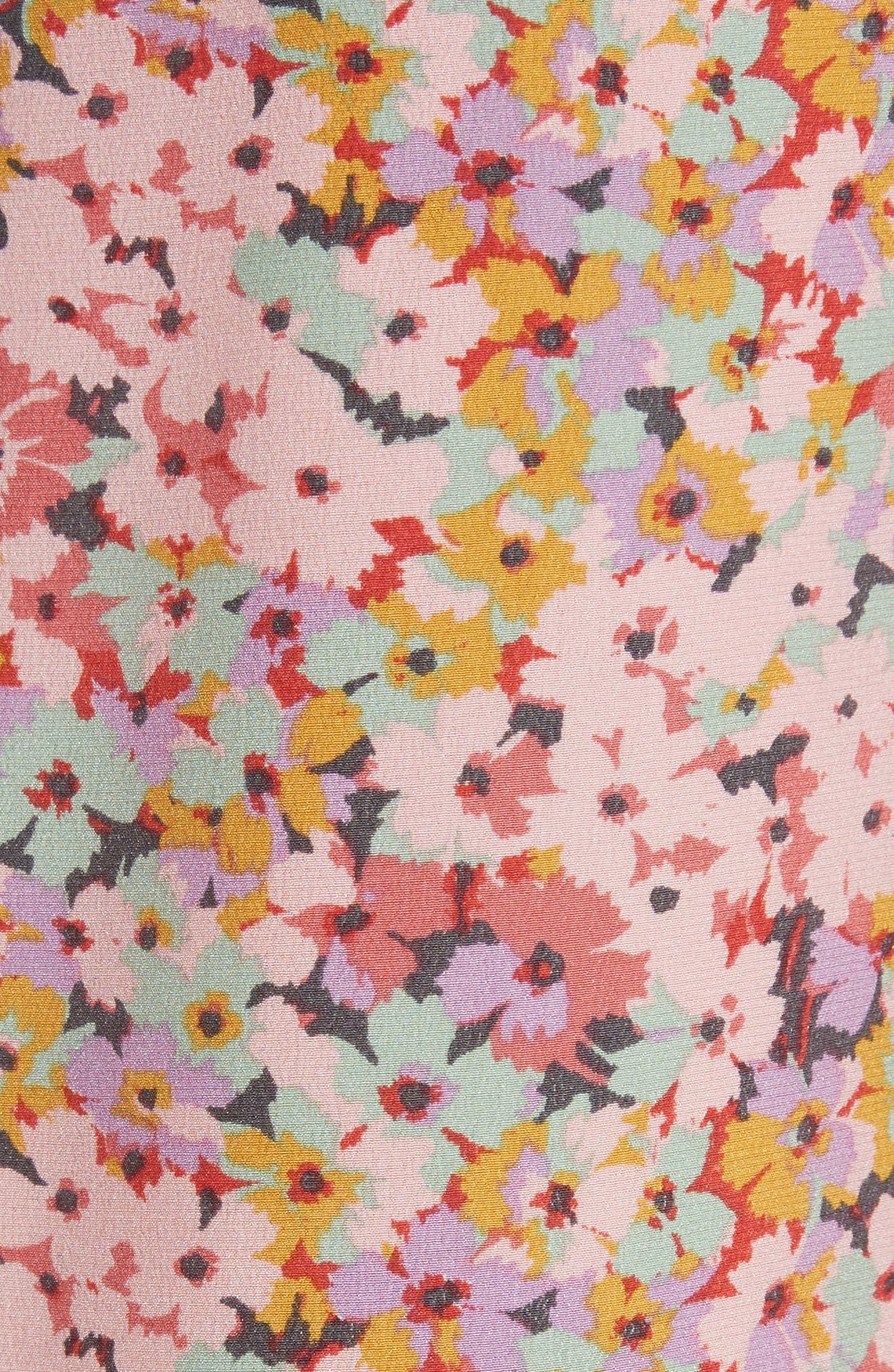 Margo Halter Top Floral Silk Jumpsuit,                             Alternate thumbnail 5, color,                             Multi Combo