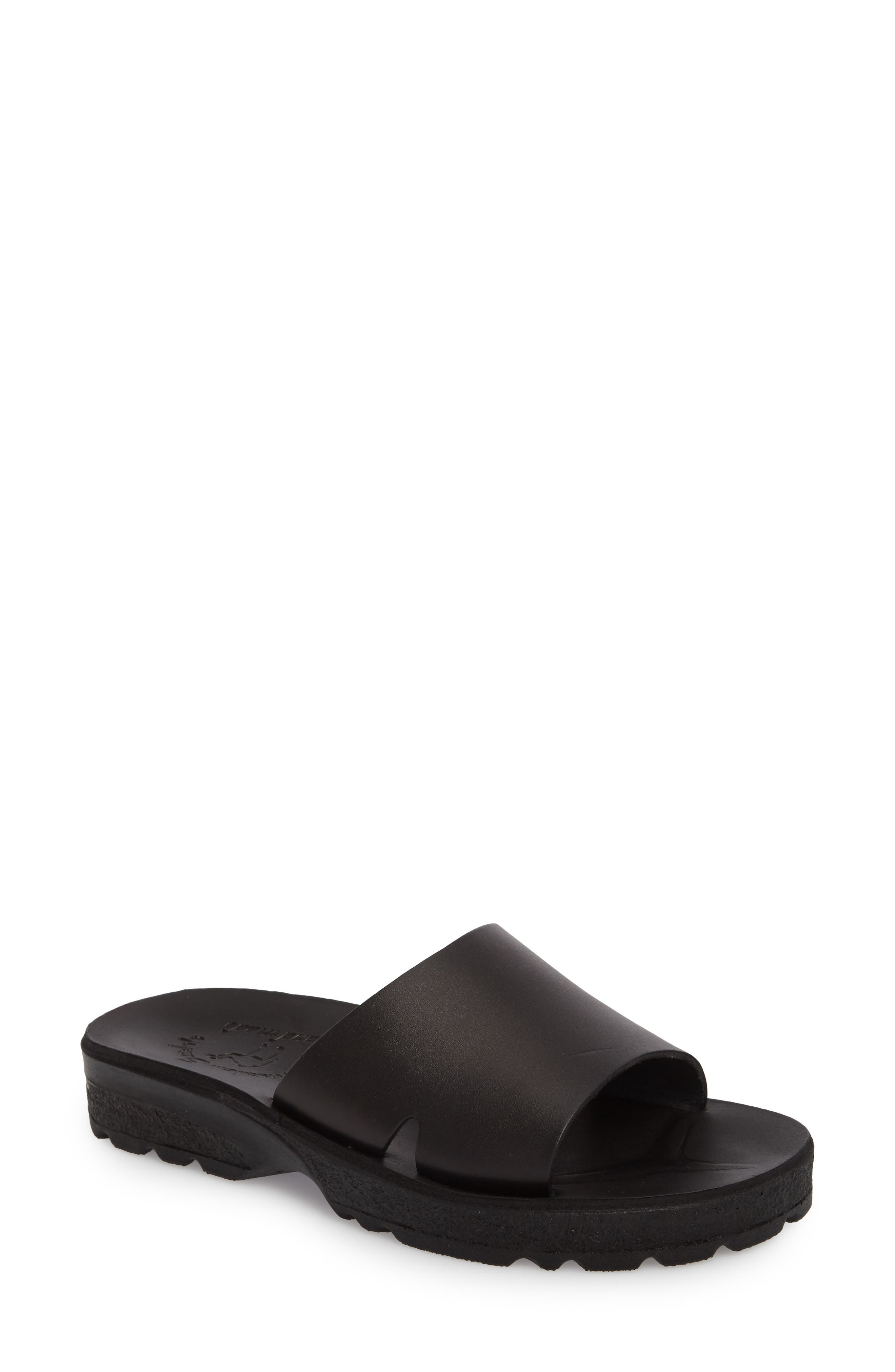 Bashn Molded Footbed Slide Sandal,                             Main thumbnail 1, color,                             Black Leather