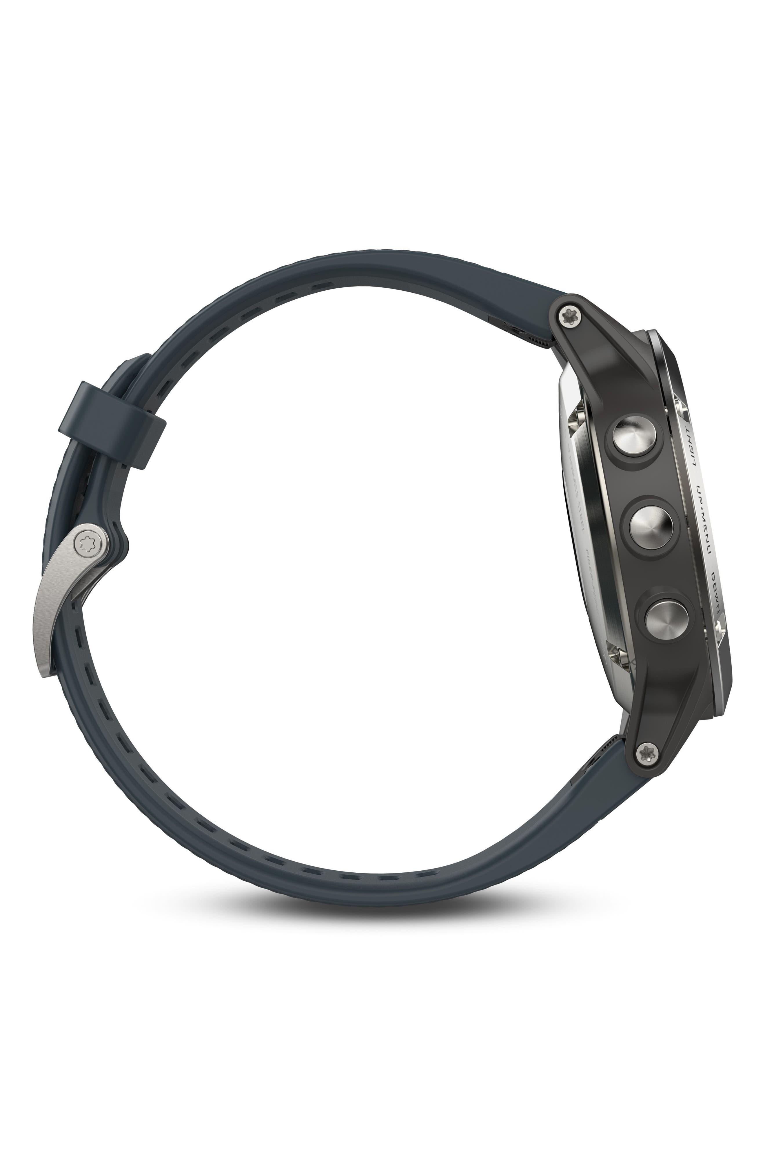 fenix<sup>®</sup> 5 Premium Multisport GPS Watch, 47mm,                             Alternate thumbnail 4, color,                             Granite Blue/ Silver