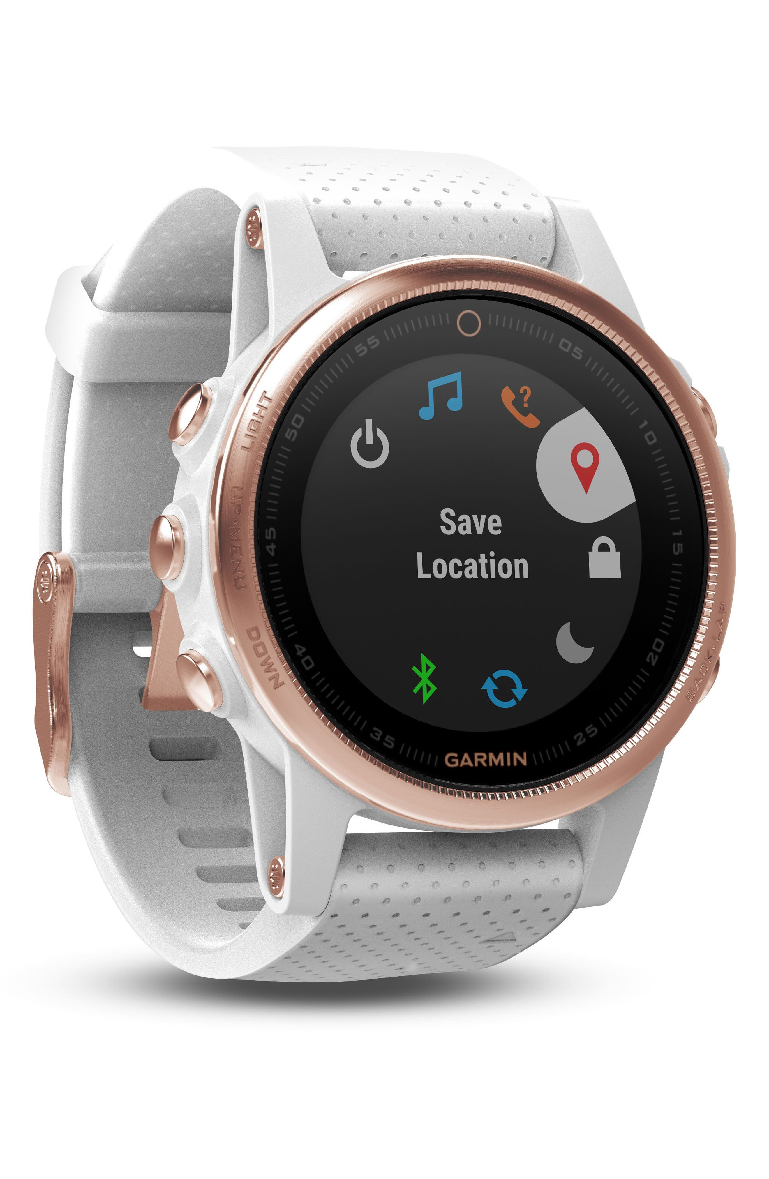 fenix<sup>®</sup> 5s Sapphire Multisport GPS Smart Tracker Silicone Strap Watch, 42mm,                             Alternate thumbnail 3, color,                             White/ Rose Gold Sapphire