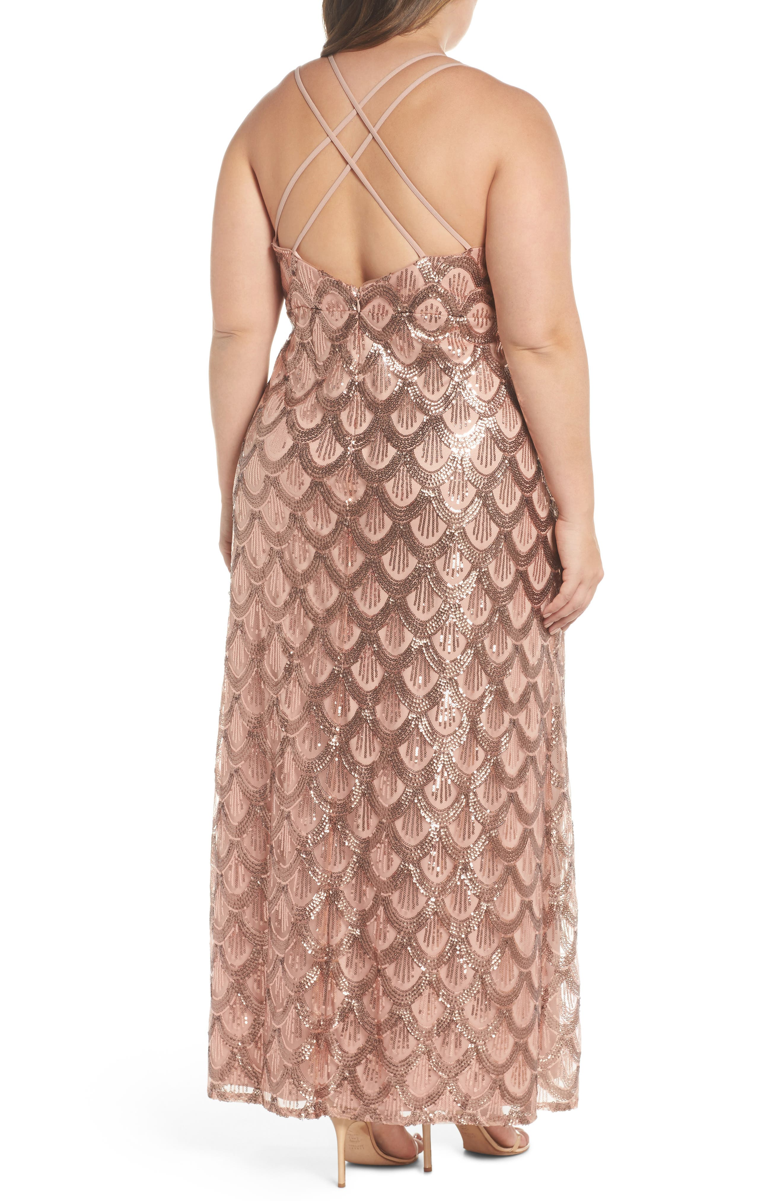 Sequin Cross Back Gown,                             Alternate thumbnail 2, color,                             Rose Gold