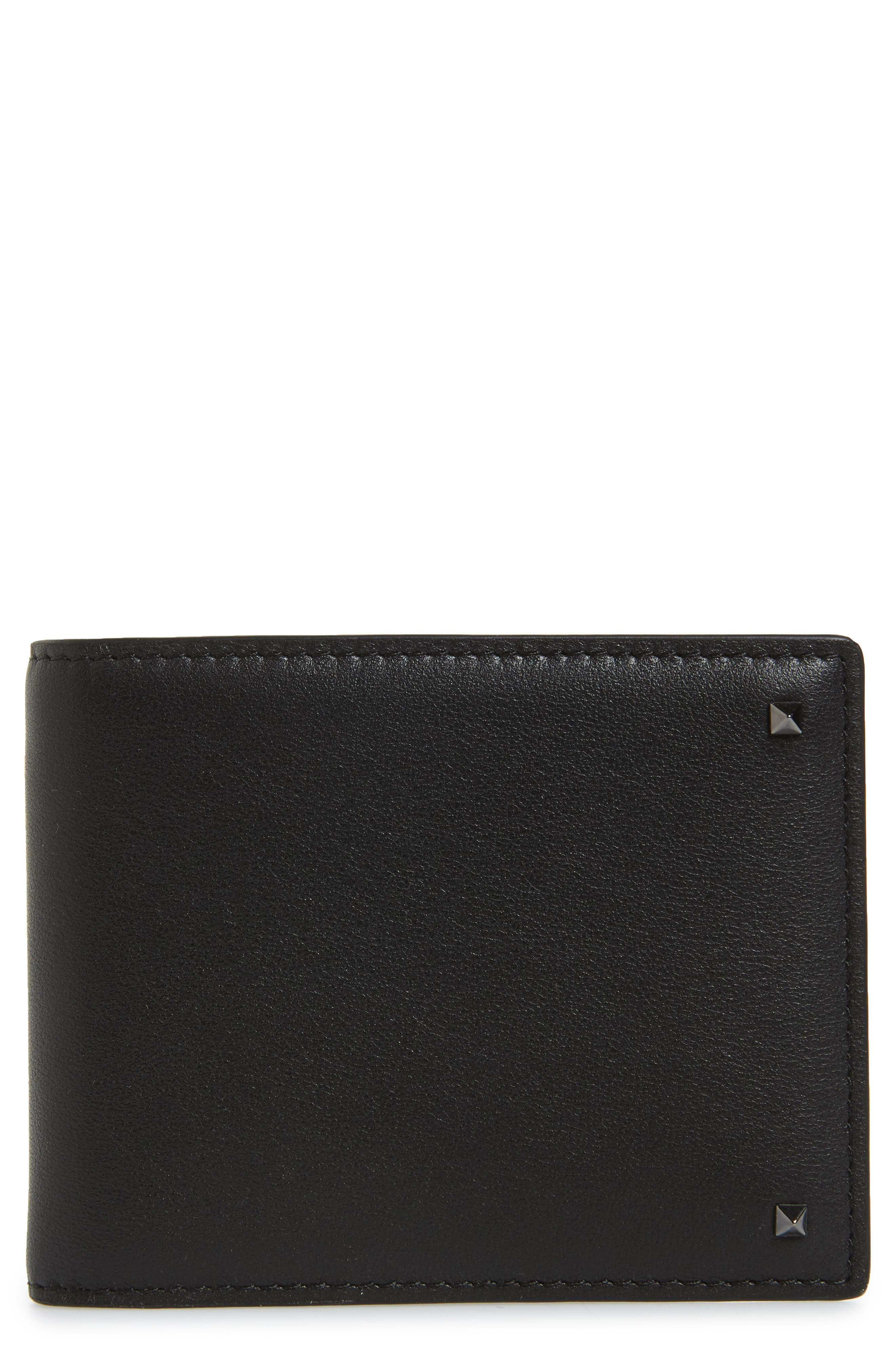 GARAVANI Stud Leather Money Clip Card Case,                         Main,                         color, Black
