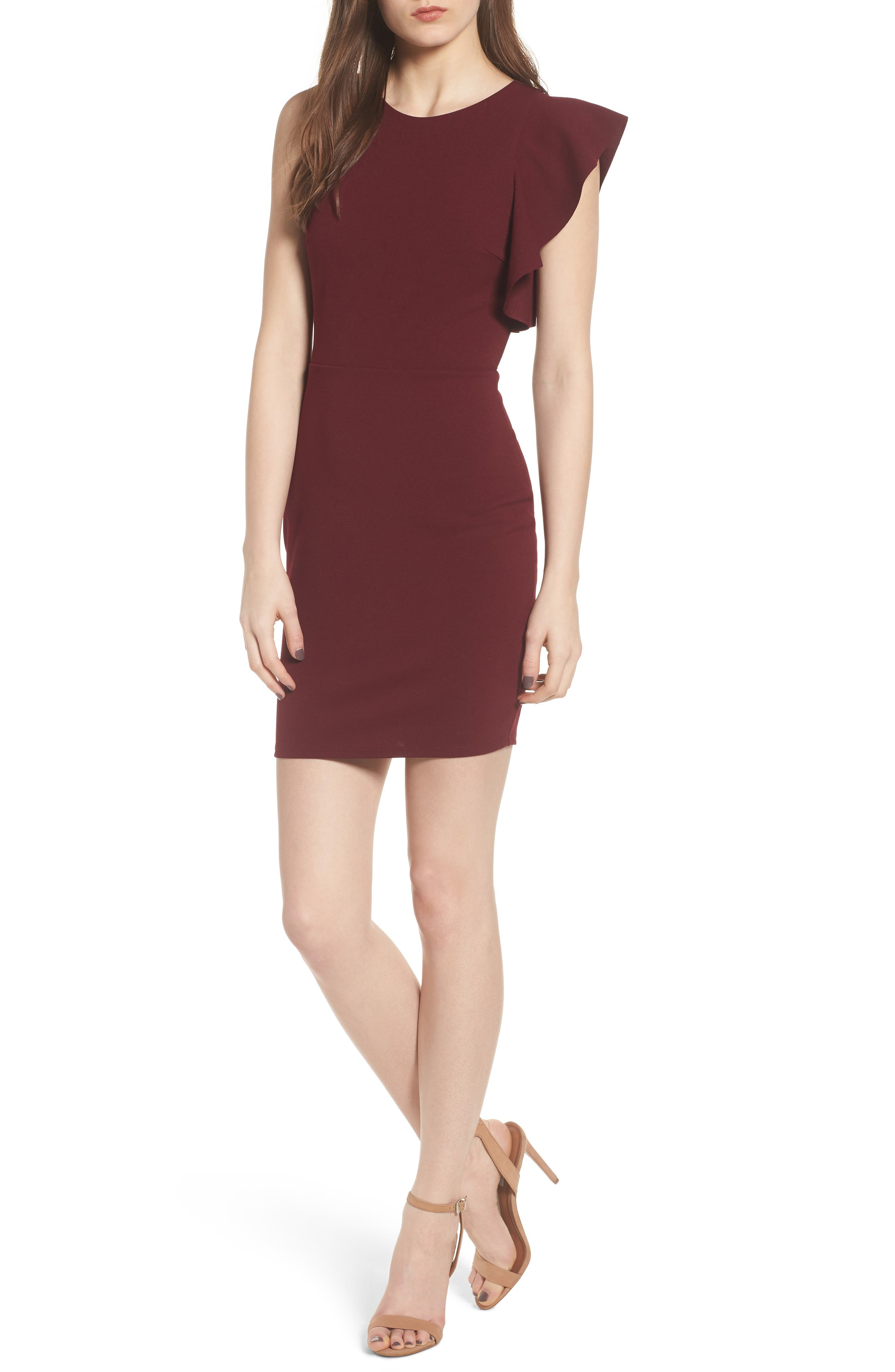 Ruffle Sleeve Body-Con Dress,                         Main,                         color, Wine