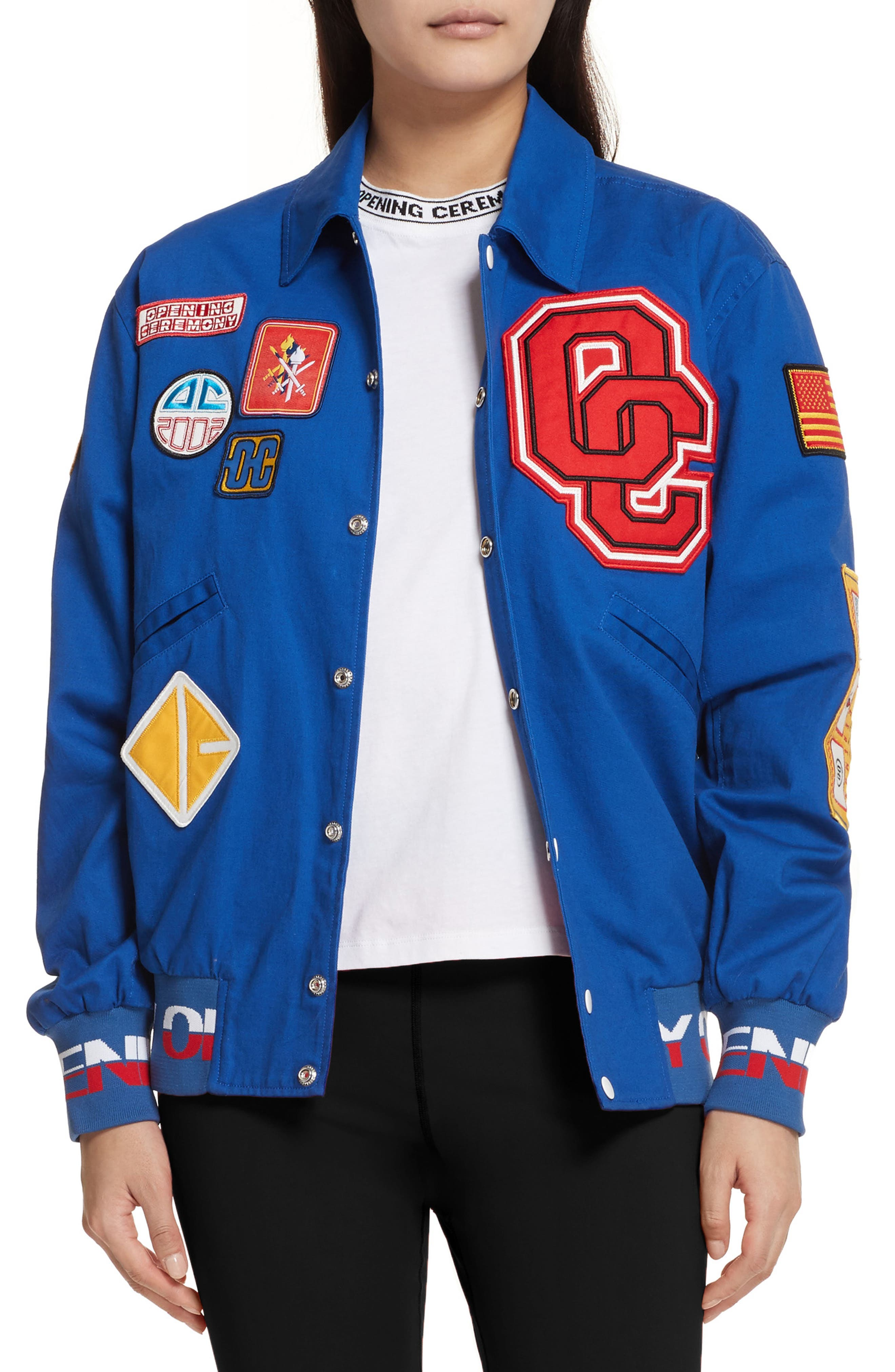 Patch Varsity Jacket,                             Main thumbnail 1, color,                             Railroad Blue