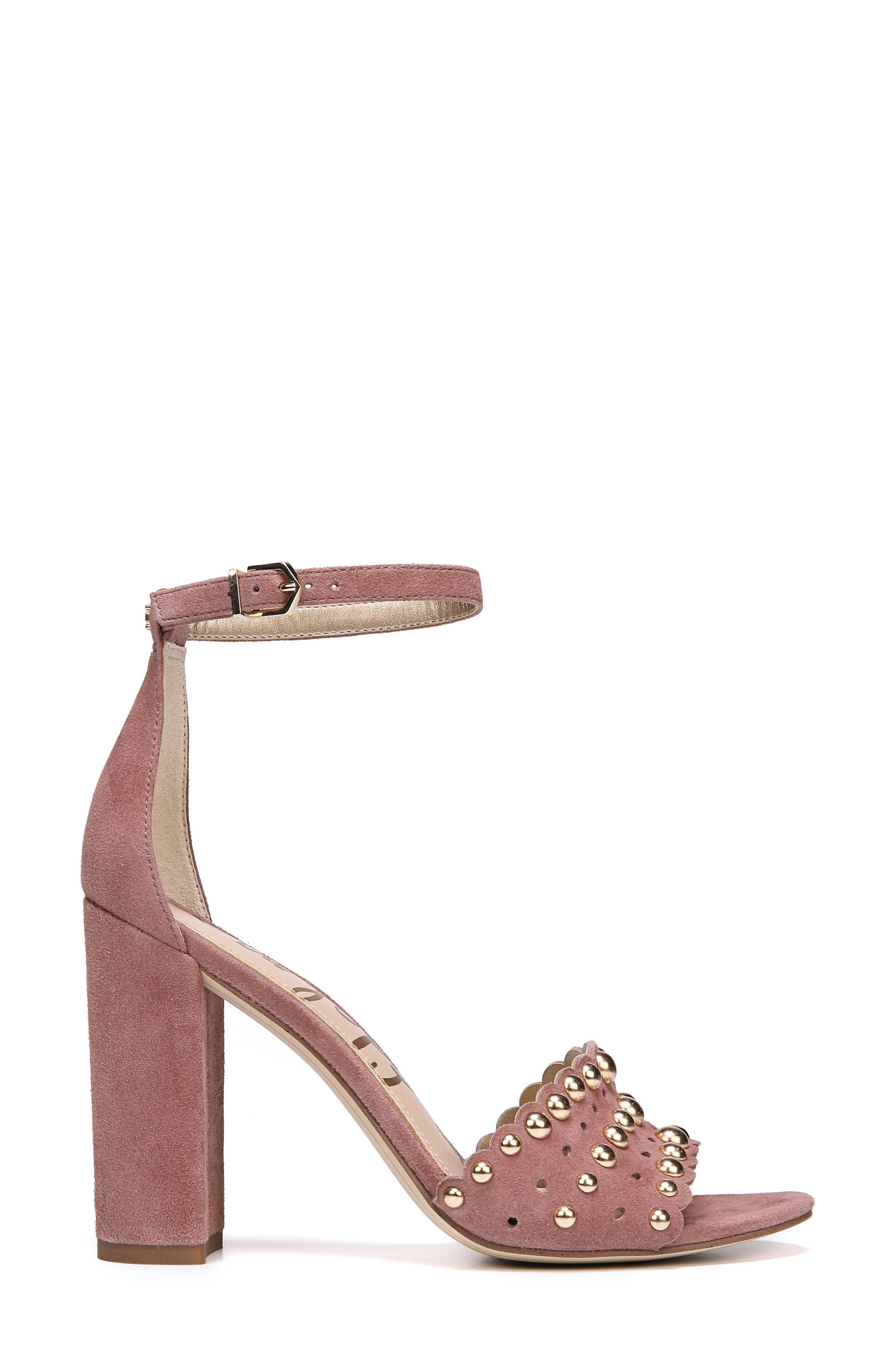 Yaria Studded Block Heel Sandal,                             Alternate thumbnail 3, color,                             Dusty Rose Suede
