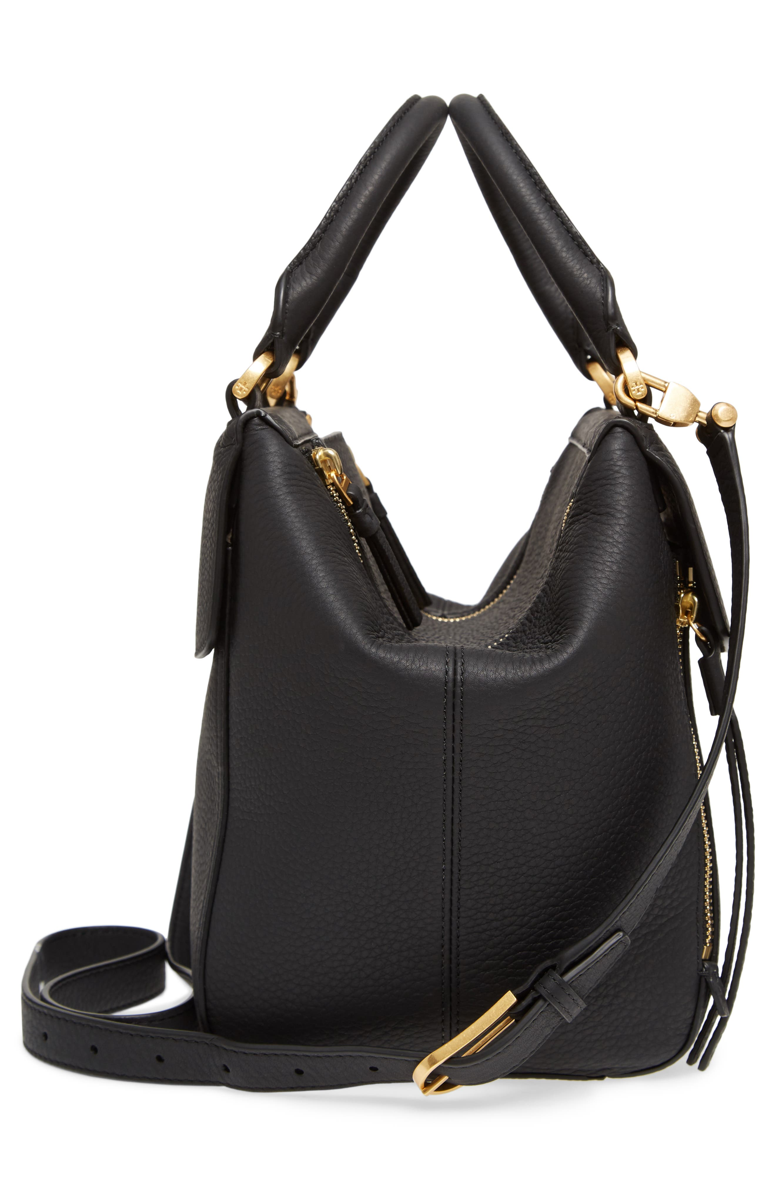 Half Moon Leather Satchel,                             Alternate thumbnail 5, color,                             Black