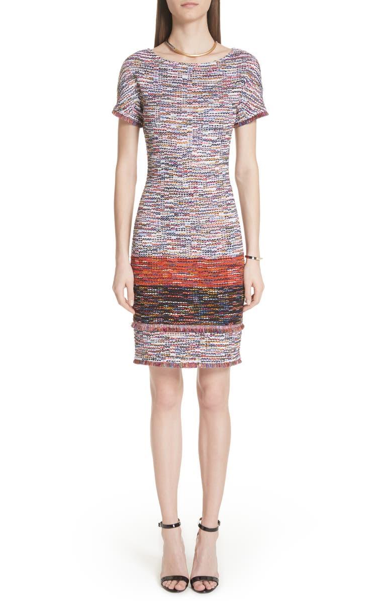 Vertical Fringe Multi Tweed Knit Dress