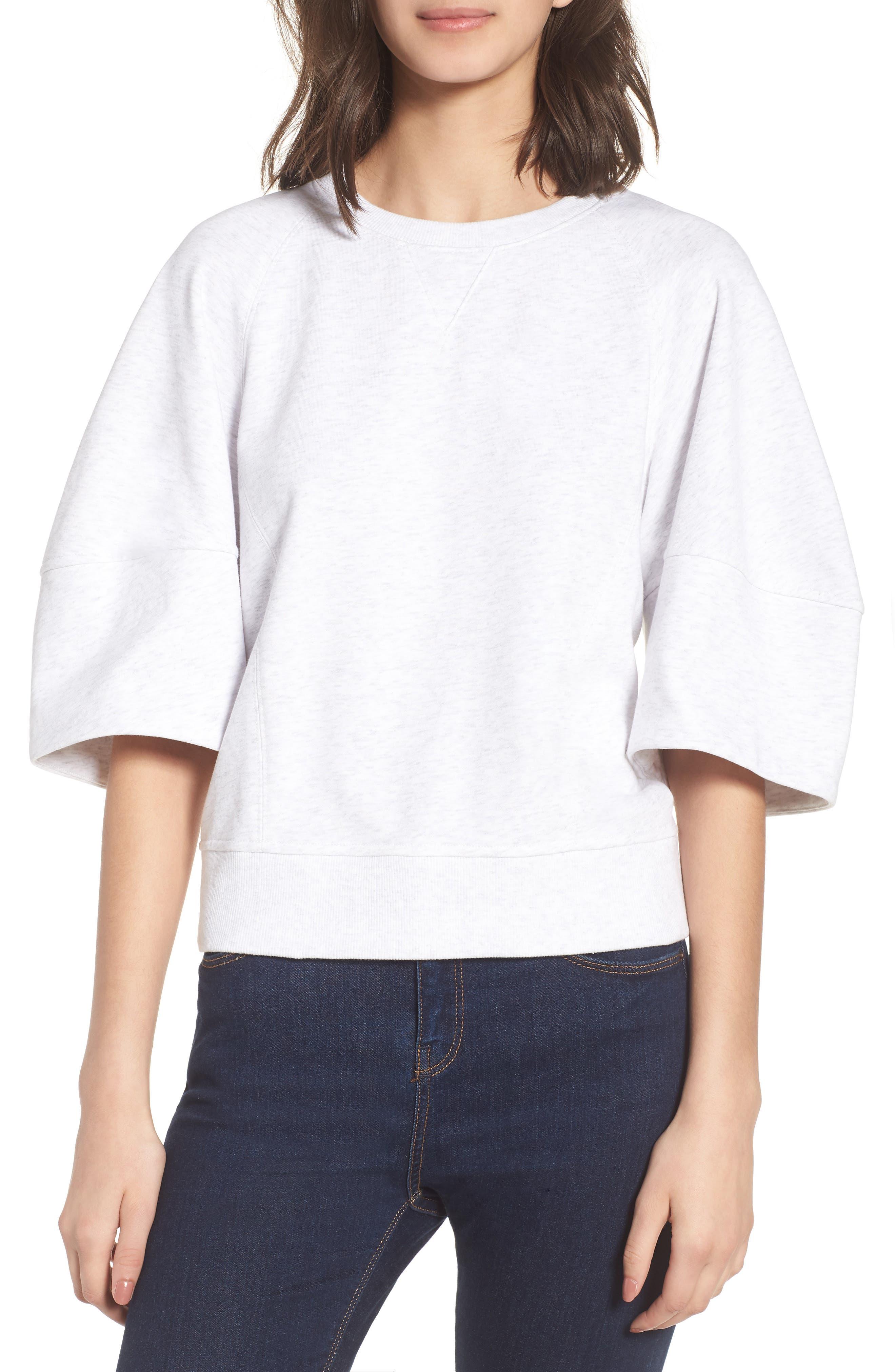 Puff Sleeve Sweatshirt,                         Main,                         color, Heather Grey