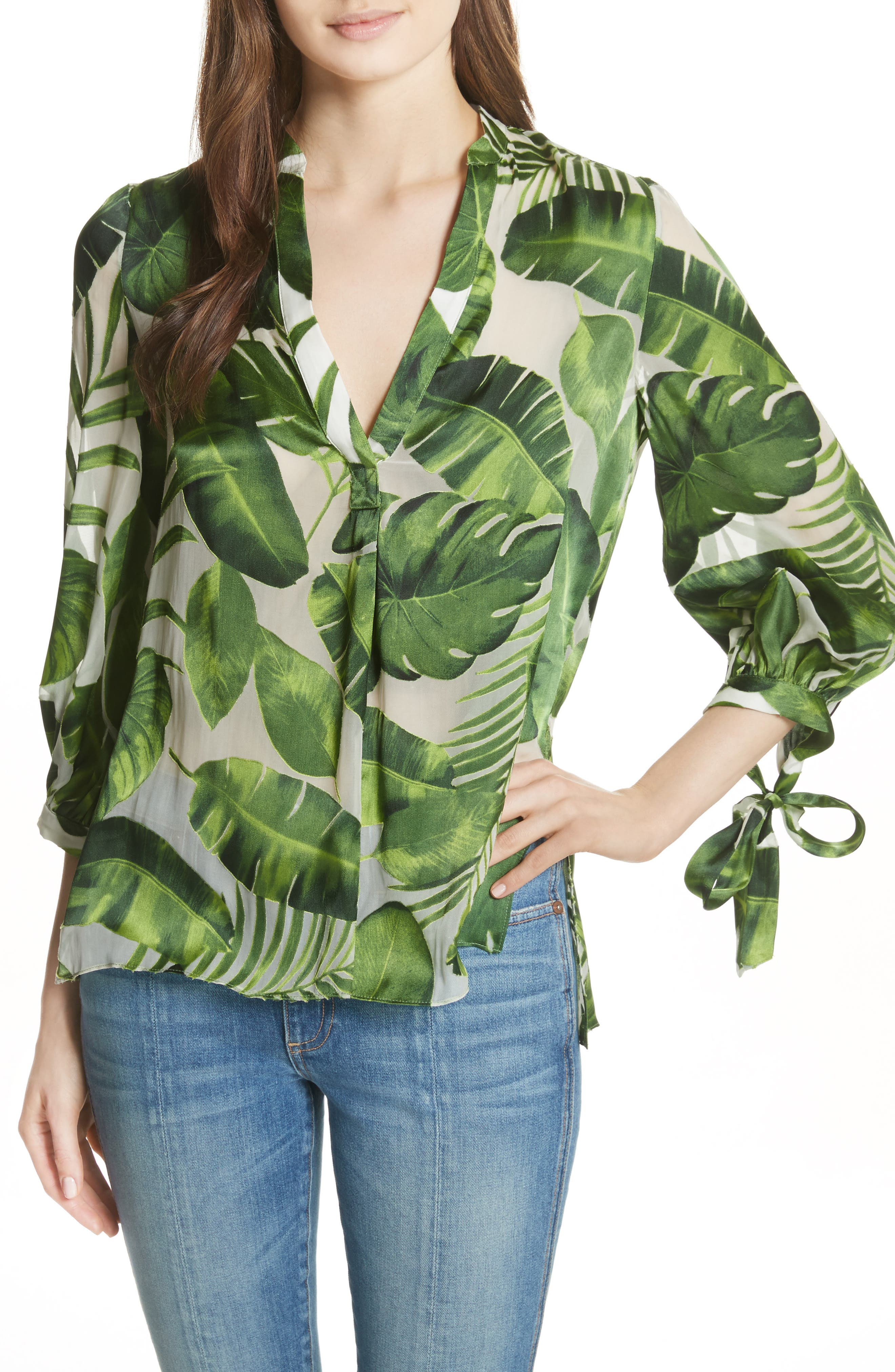 Sheila Tie Sleeve Top,                         Main,                         color, Tropical Leaves