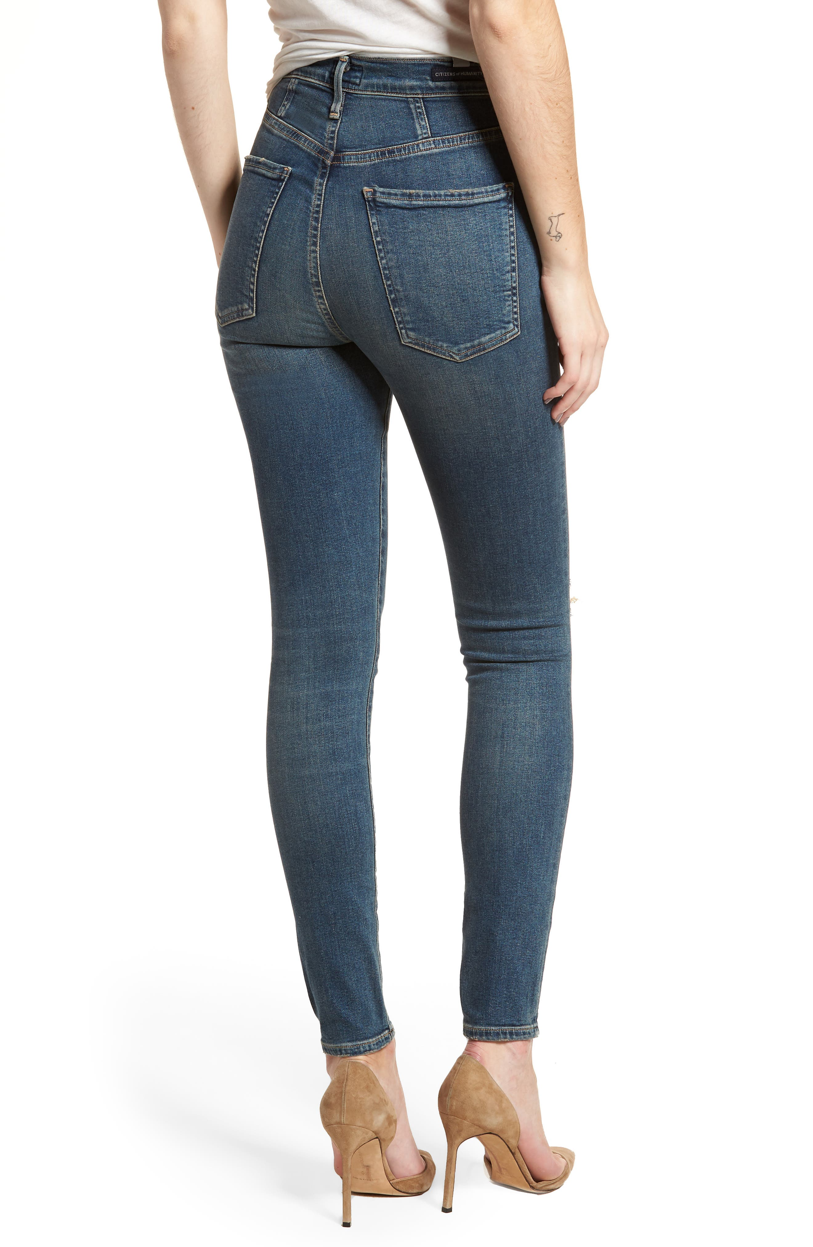 Chrissy High Waist Skinny Jeans,                             Alternate thumbnail 2, color,                             Roulette