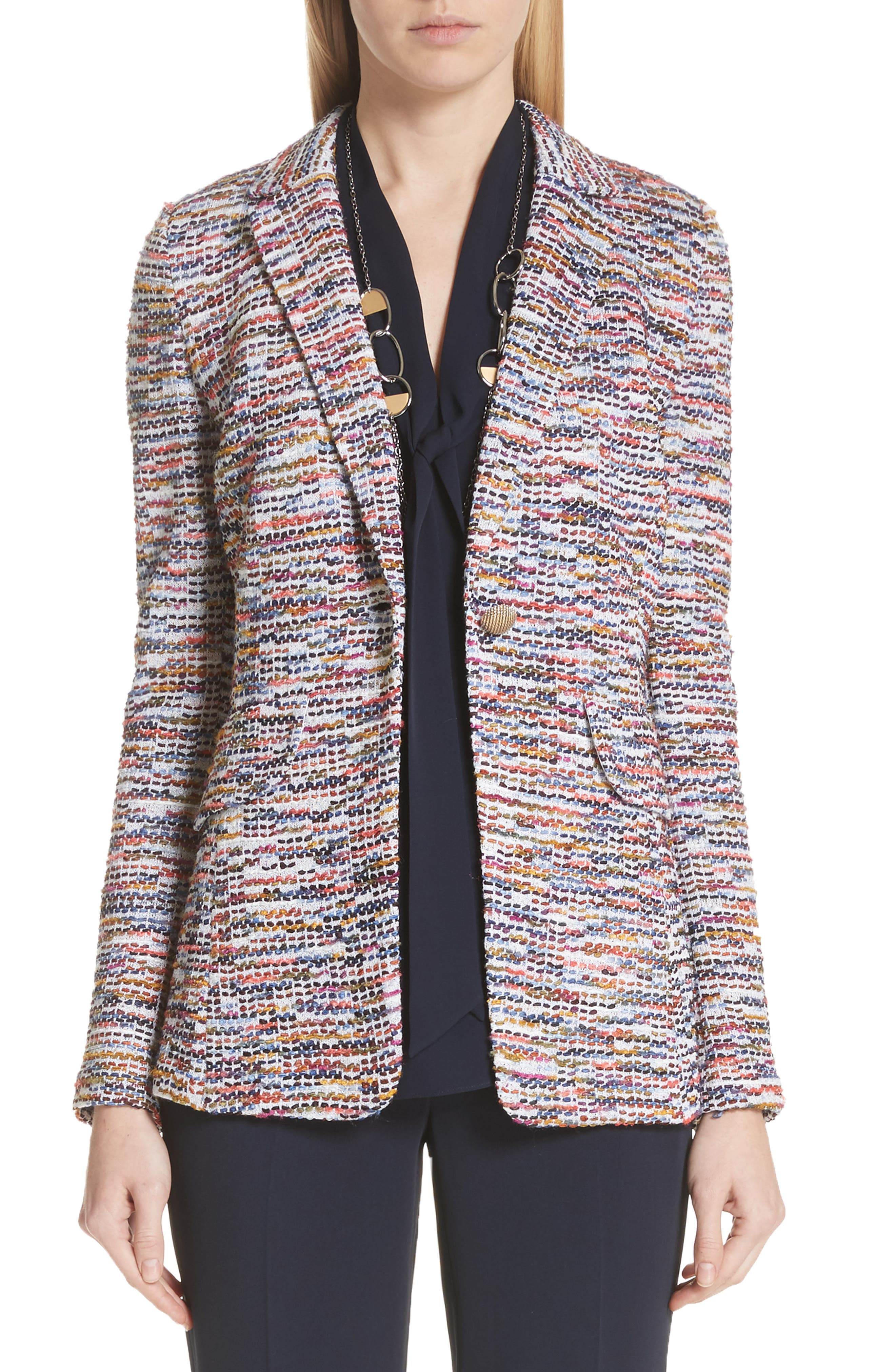 St. John Collection Vertical Fringe Multi Tweed Knit Jacket