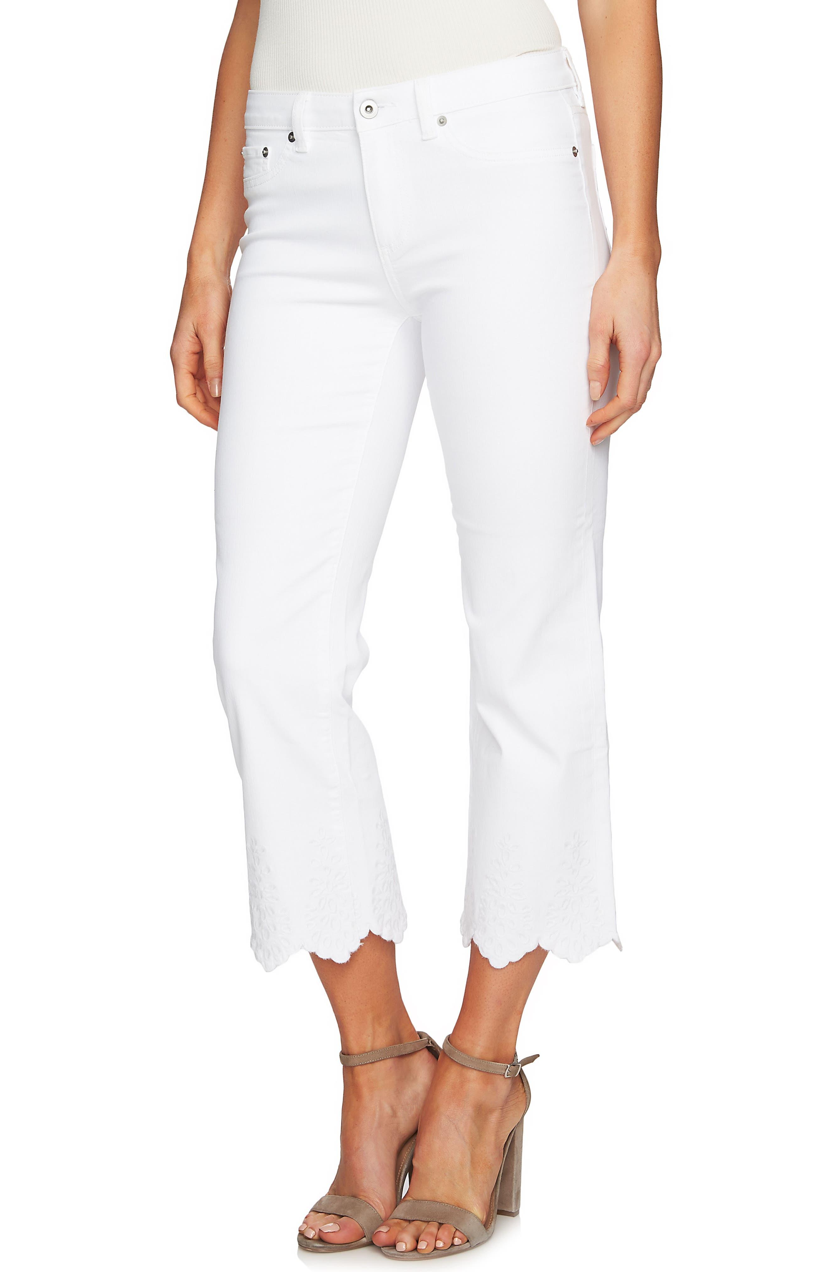 Classic Lace Hem Skinny Jeans,                             Main thumbnail 1, color,                             Ultra White