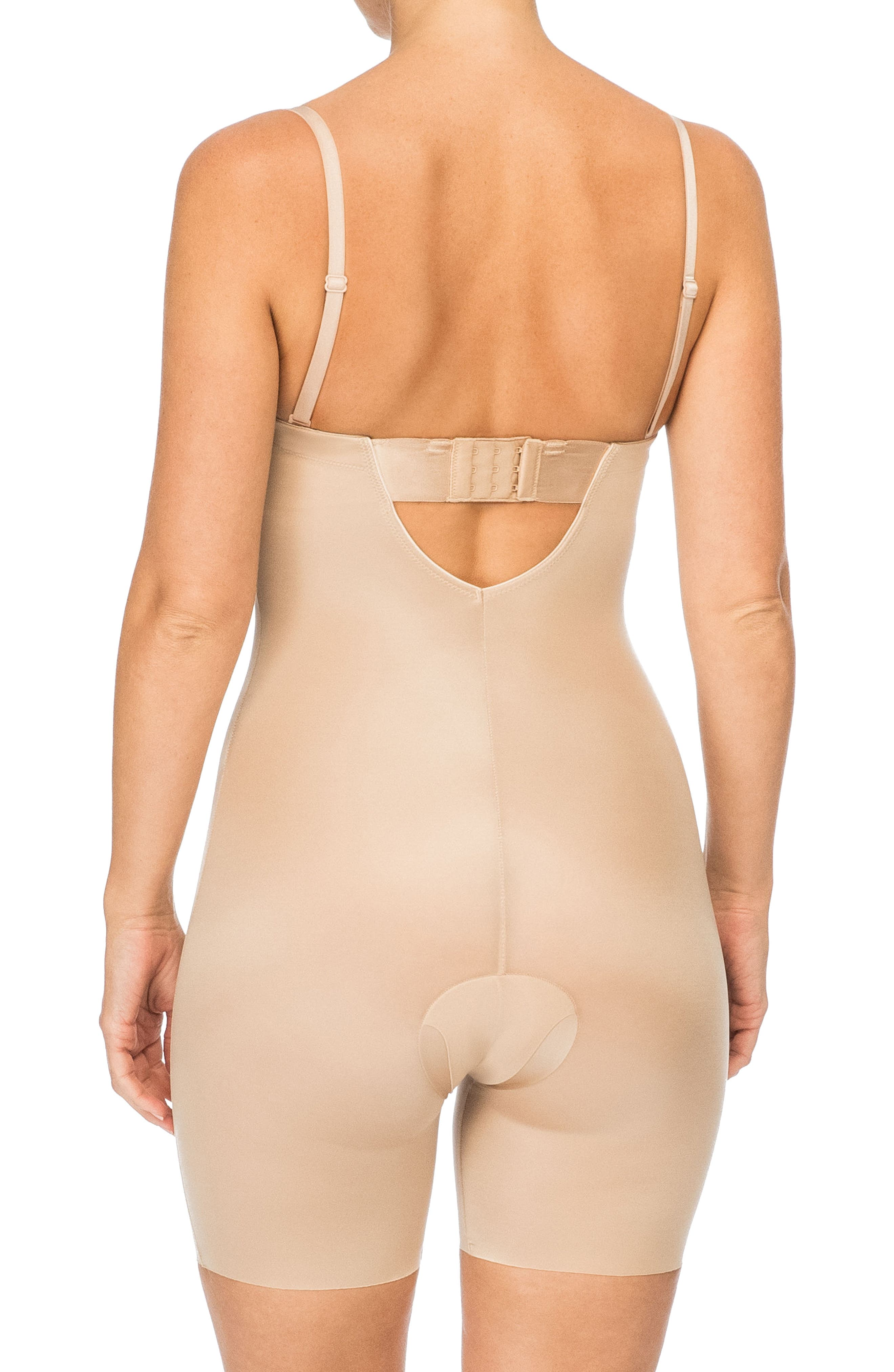 Suit Your Fancy Strapless Cupped Mid-Thigh Shaper Bodysuit,                             Alternate thumbnail 4, color,                             Champagne Beige