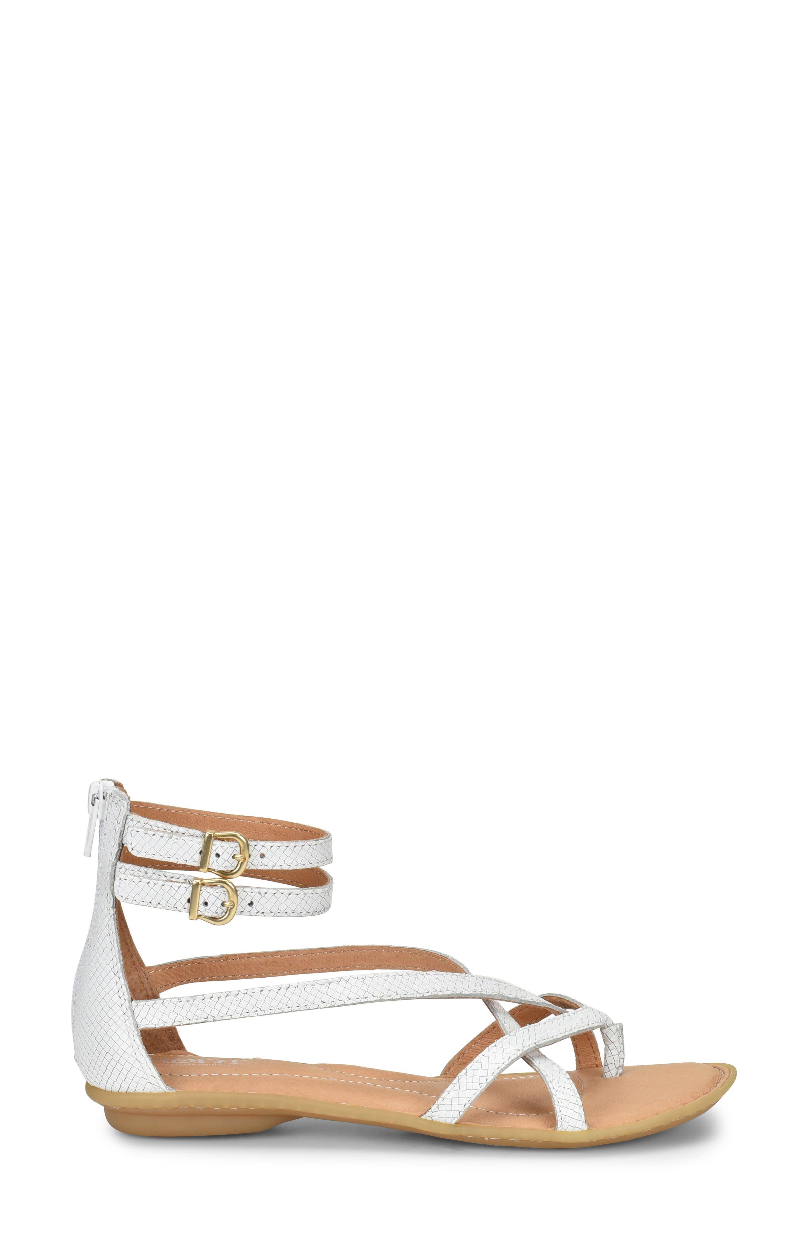 Mai Gladiator Sandal,                             Alternate thumbnail 3, color,                             White Leather