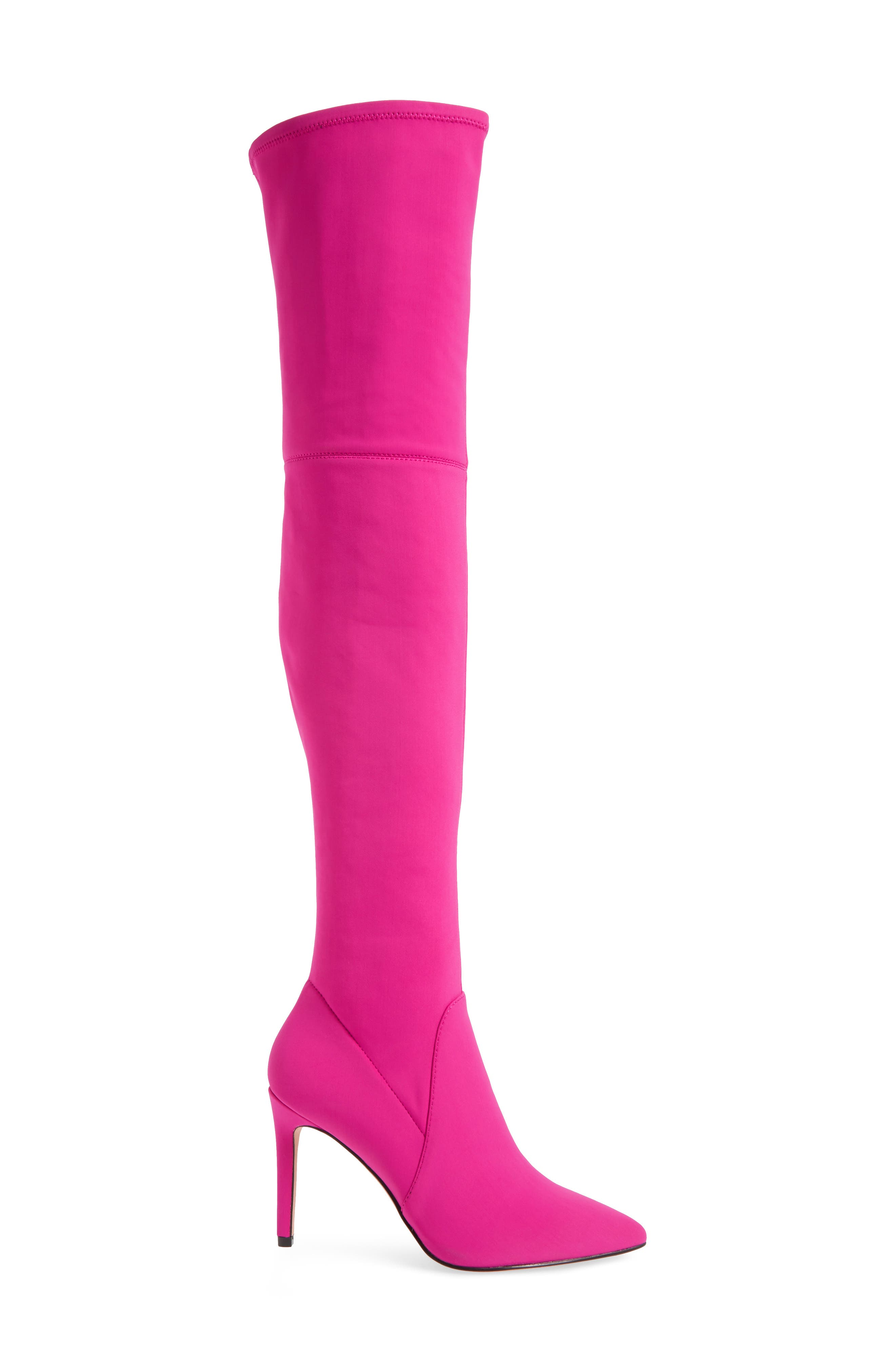 Nara Over the Knee Boot,                             Alternate thumbnail 3, color,                             Pink Stretch